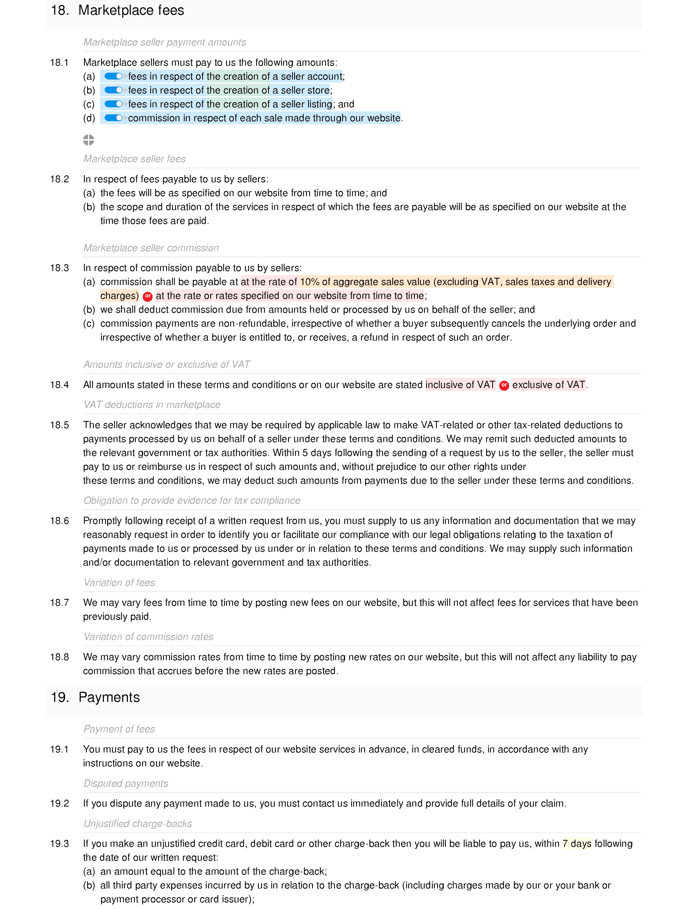 Marketplace website terms and conditions document editor preview