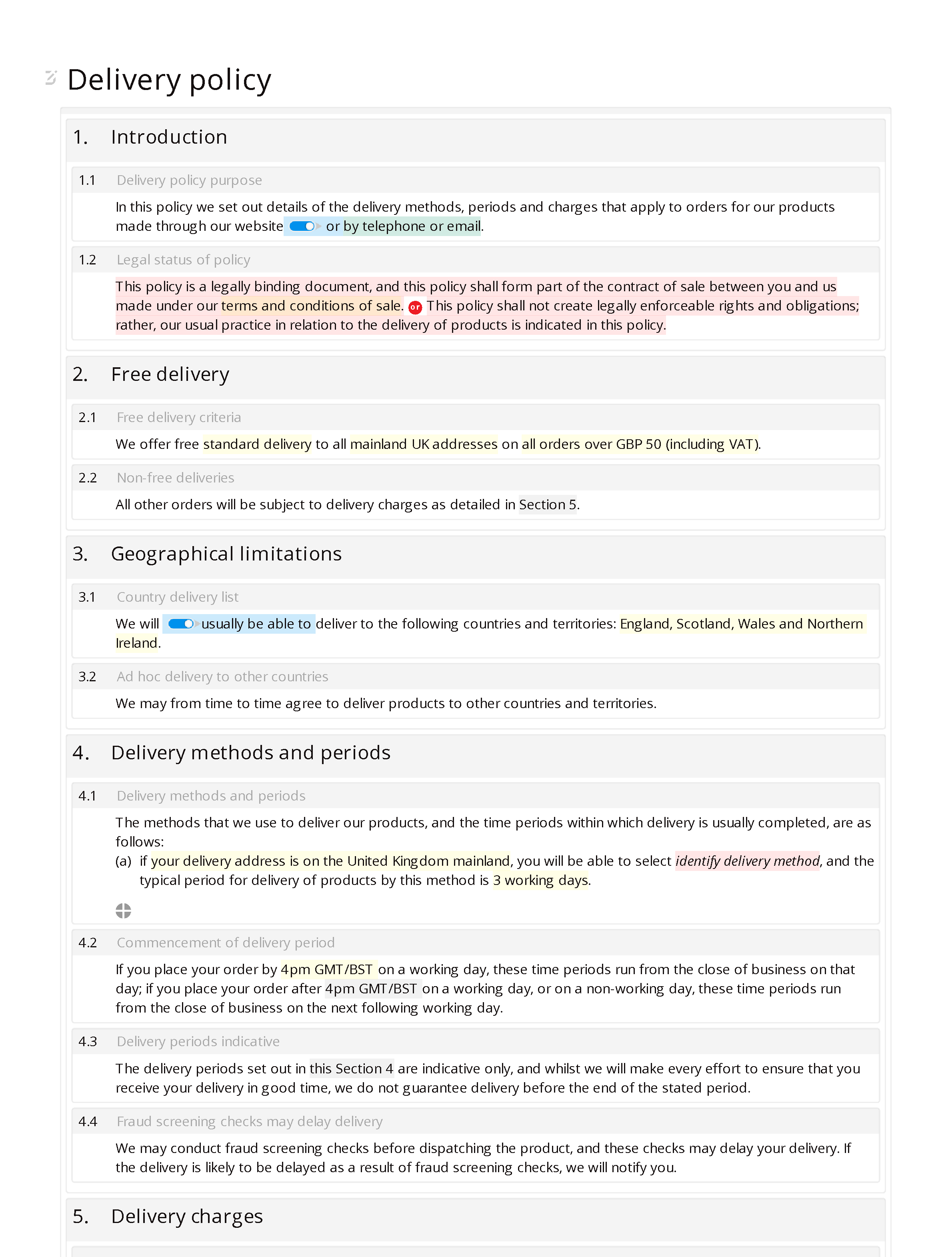 Delivery policy document editor preview