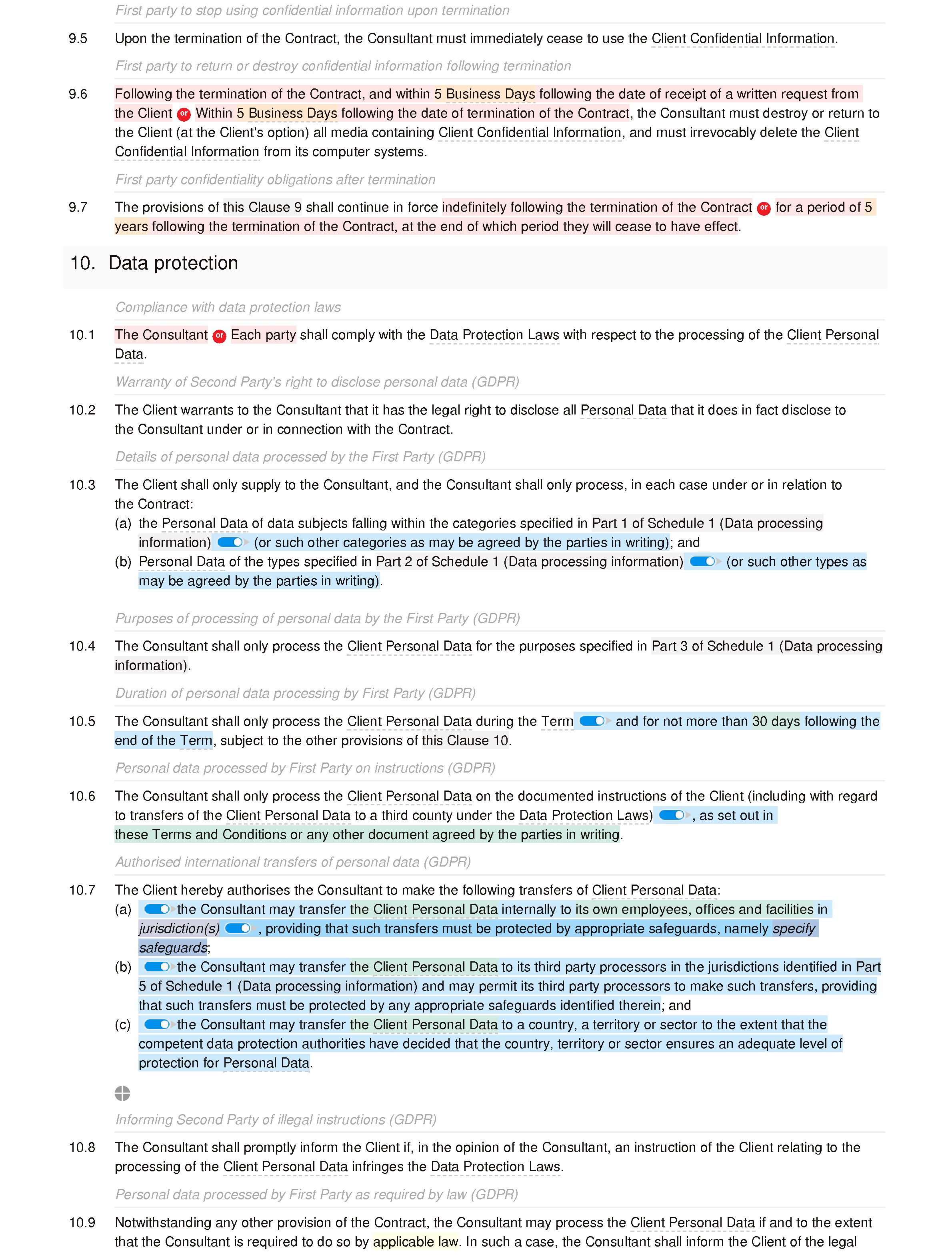 Consultancy terms and conditions (standard) document editor preview