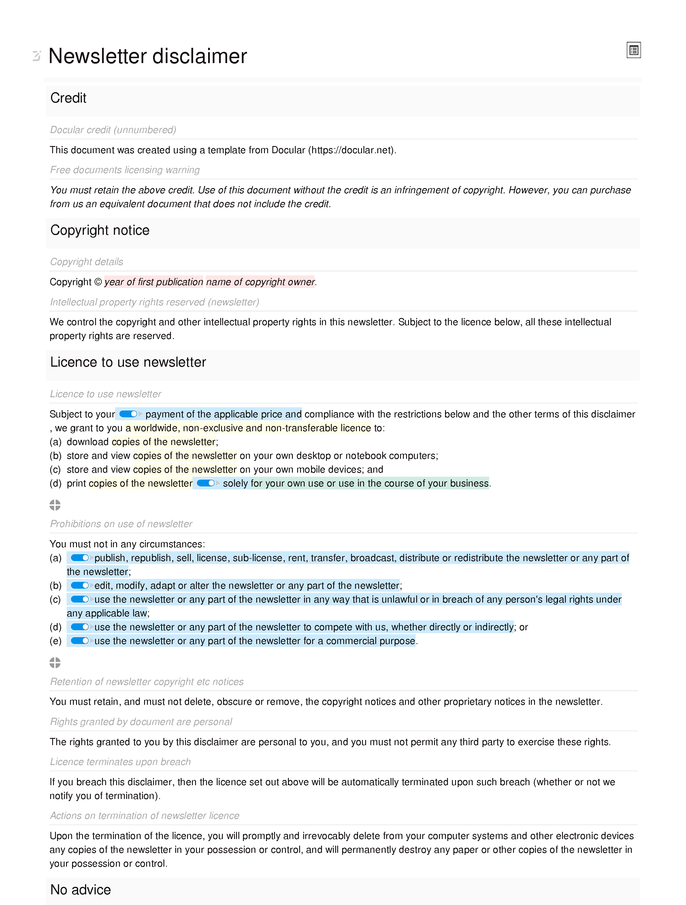 Free newsletter disclaimer document editor preview