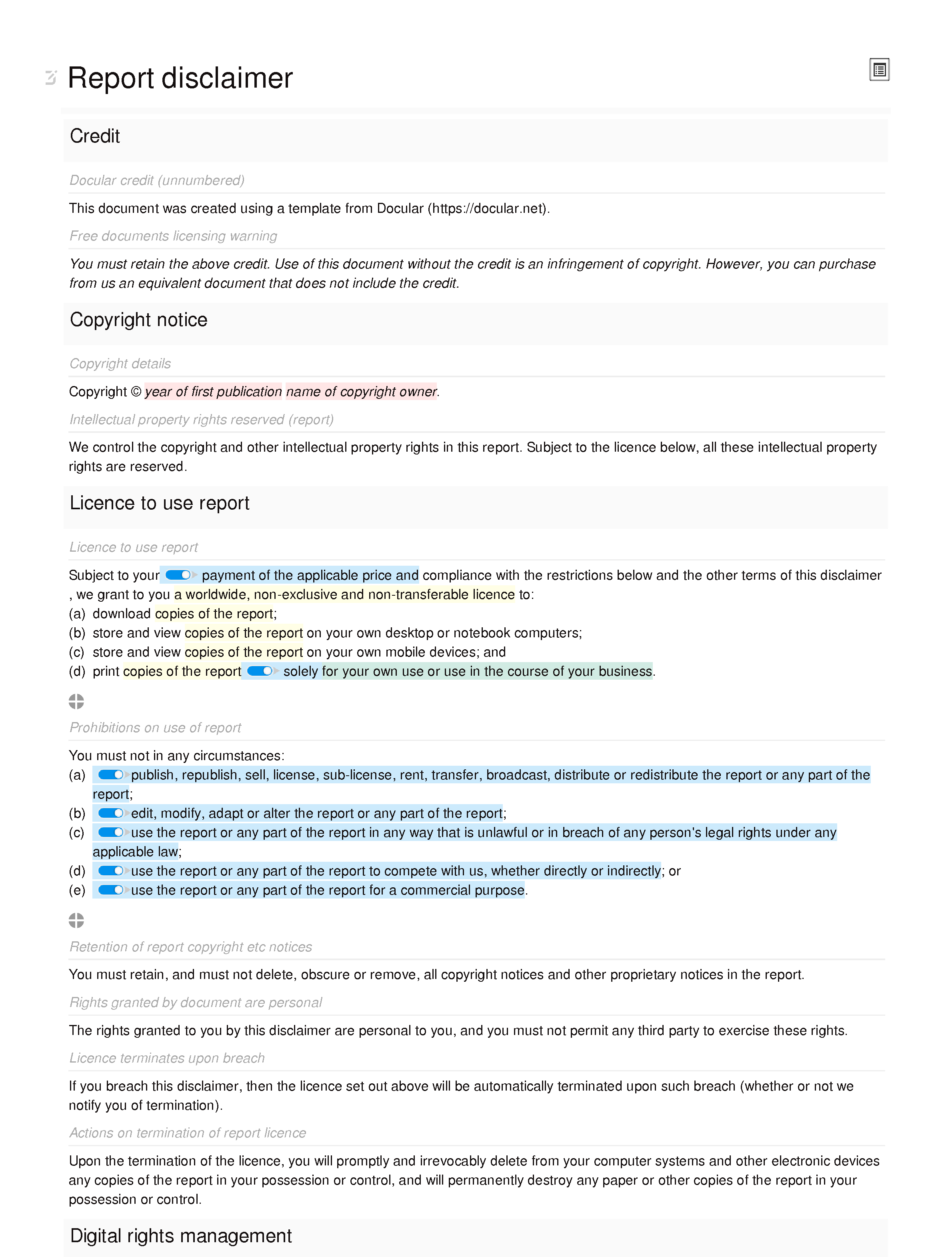Free report disclaimer document editor preview