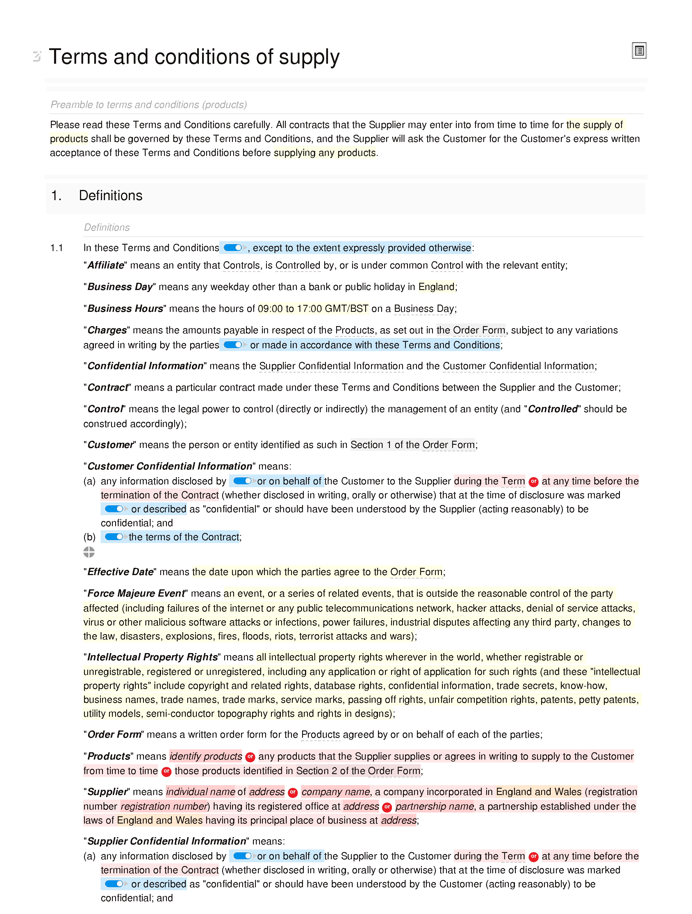 Terms and conditions of supply (premium) document editor preview