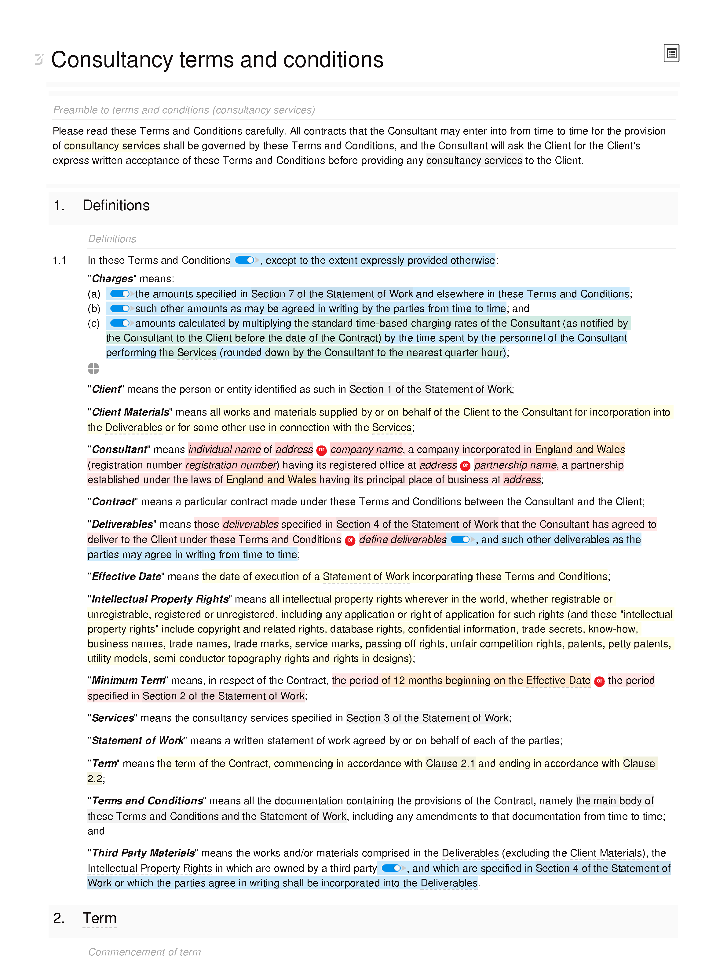 Consultancy terms and conditions (basic) document editor preview