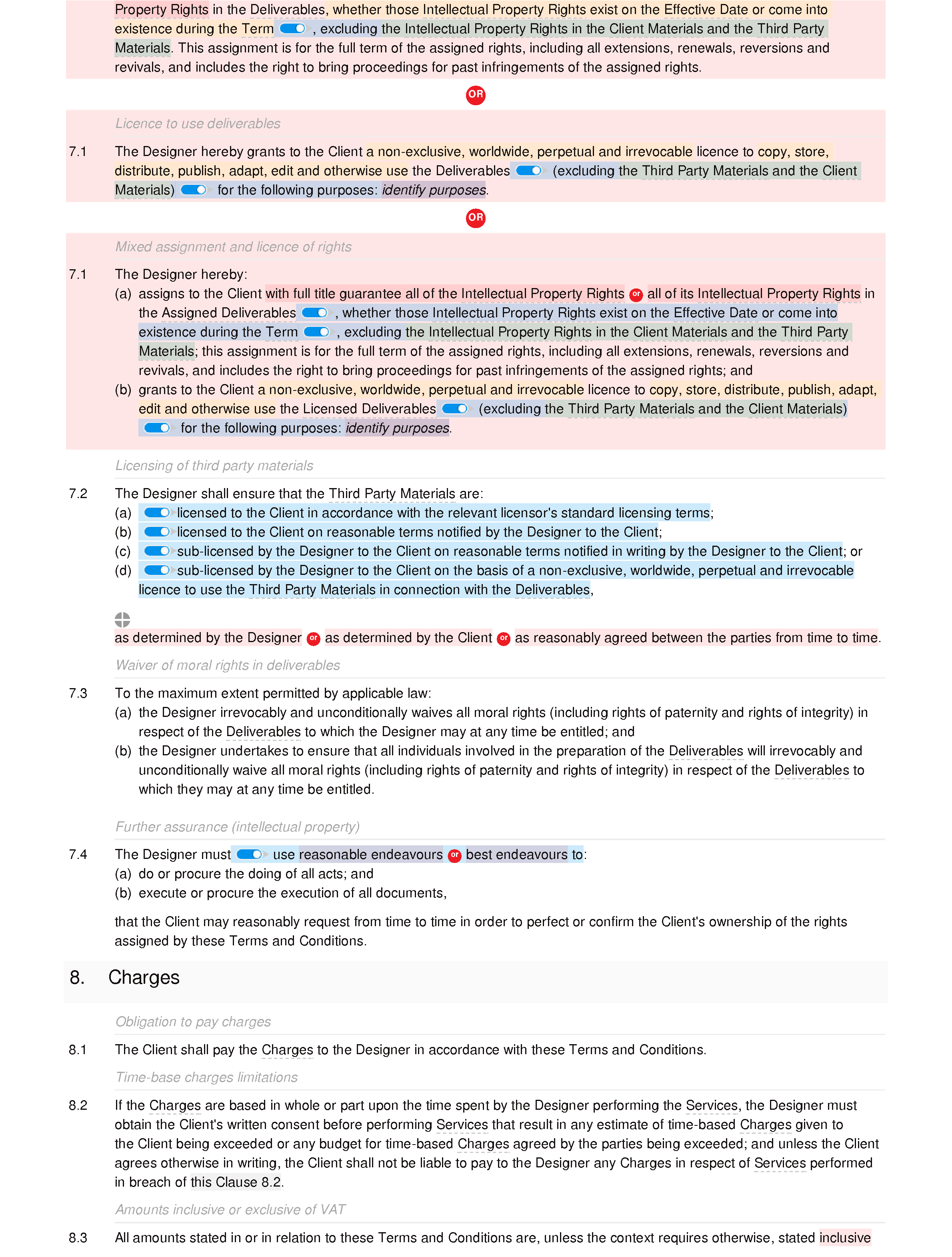 Graphic design terms and conditions document editor preview