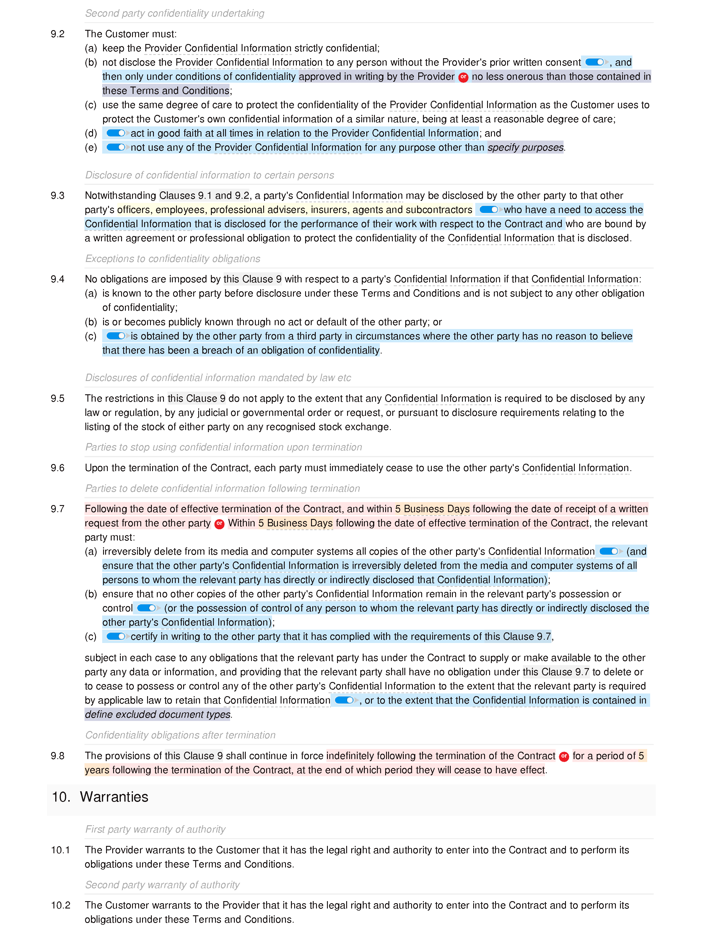 Business training terms and conditions document editor preview