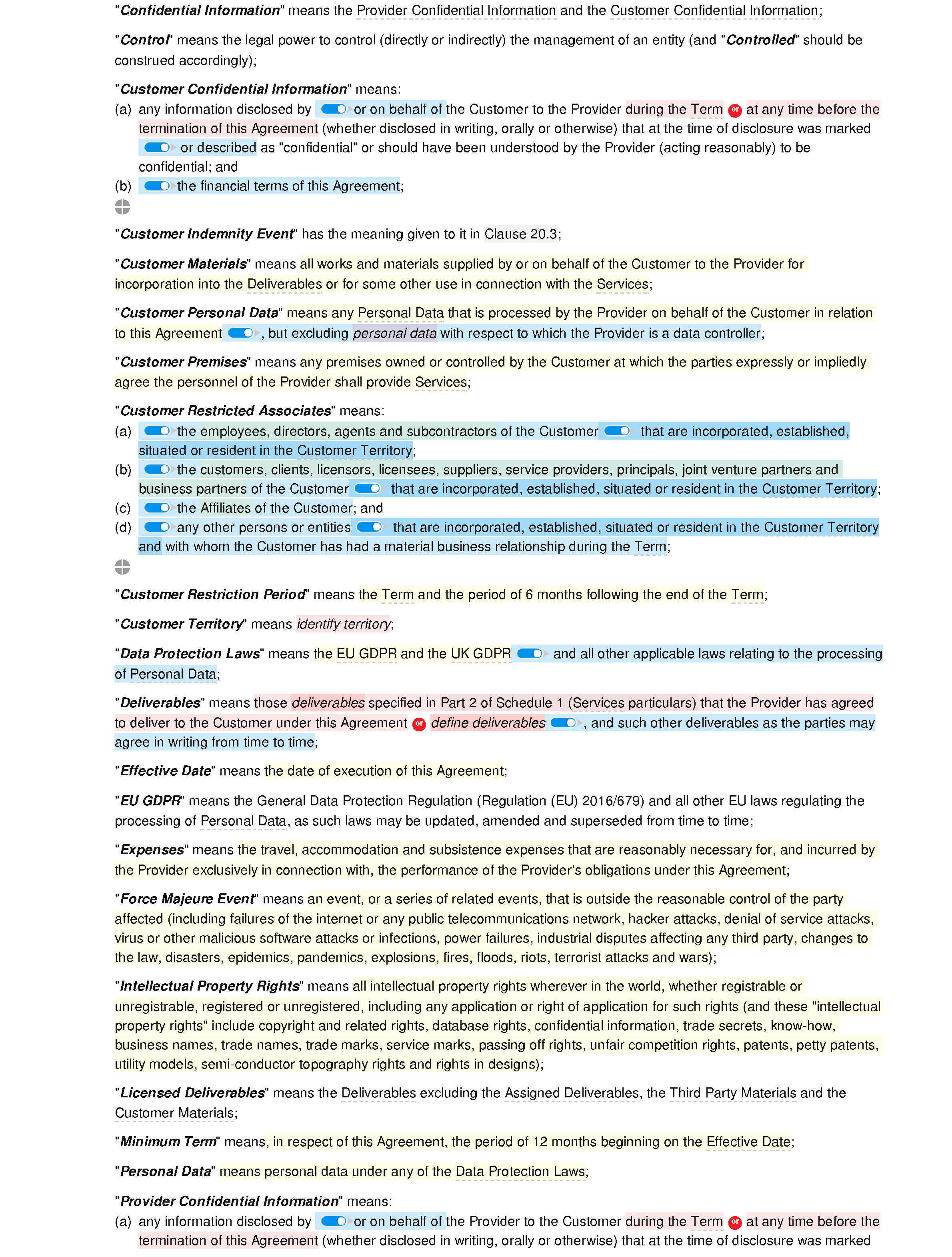 Services agreement (premium) document editor preview