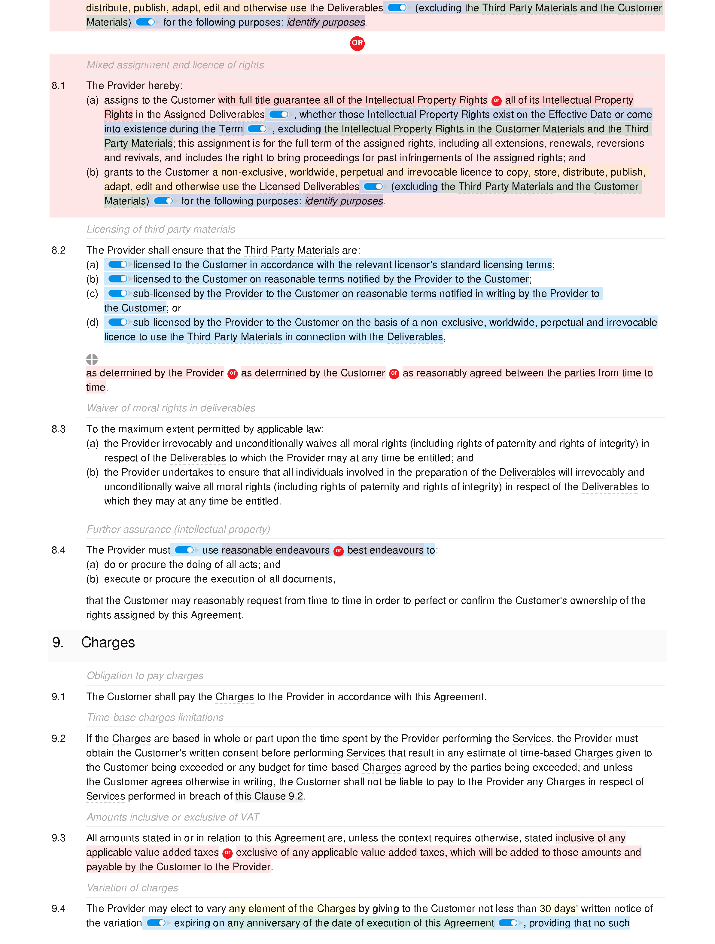 Services agreement (standard) document editor preview