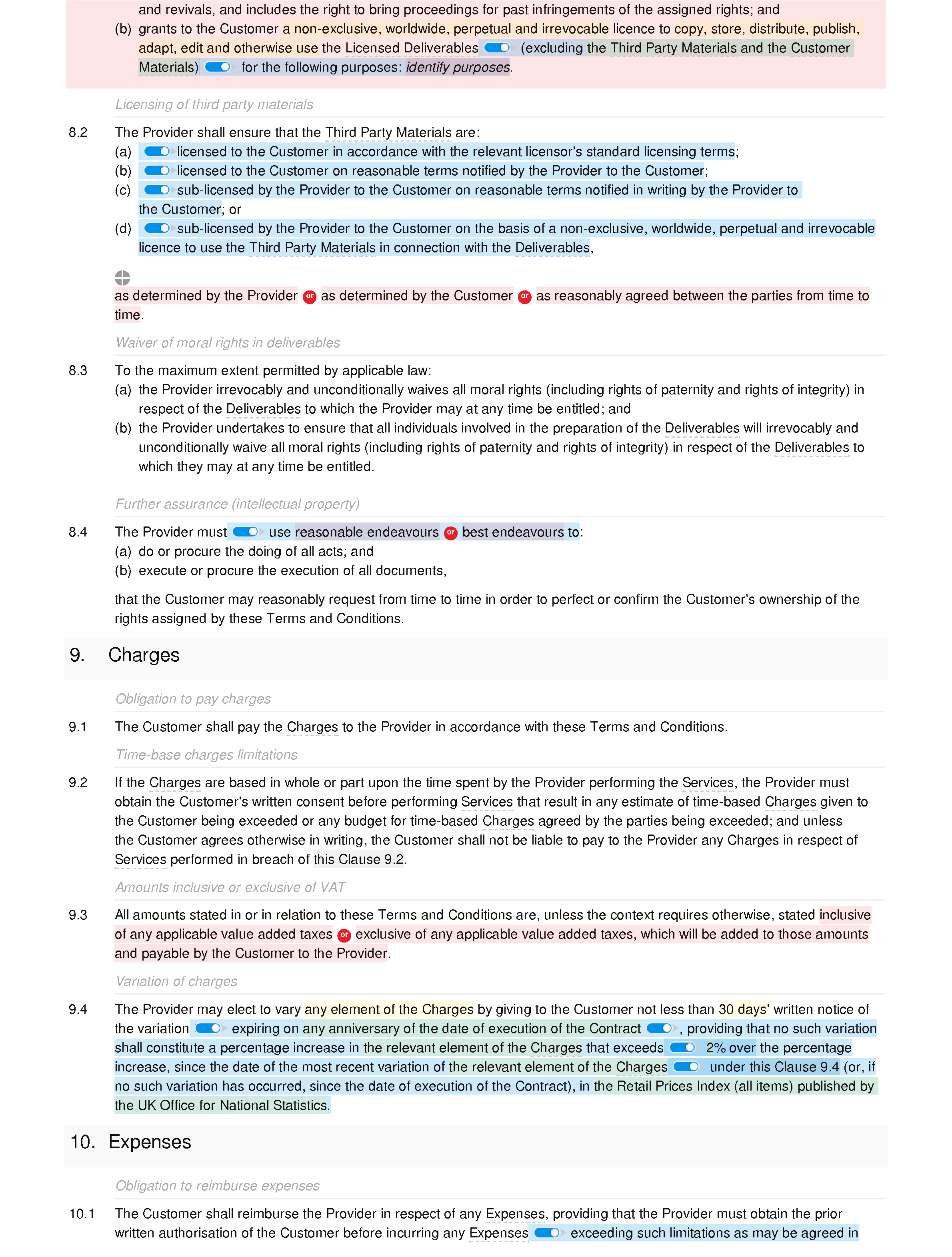 Terms and conditions for the supply of services (standard) document editor preview