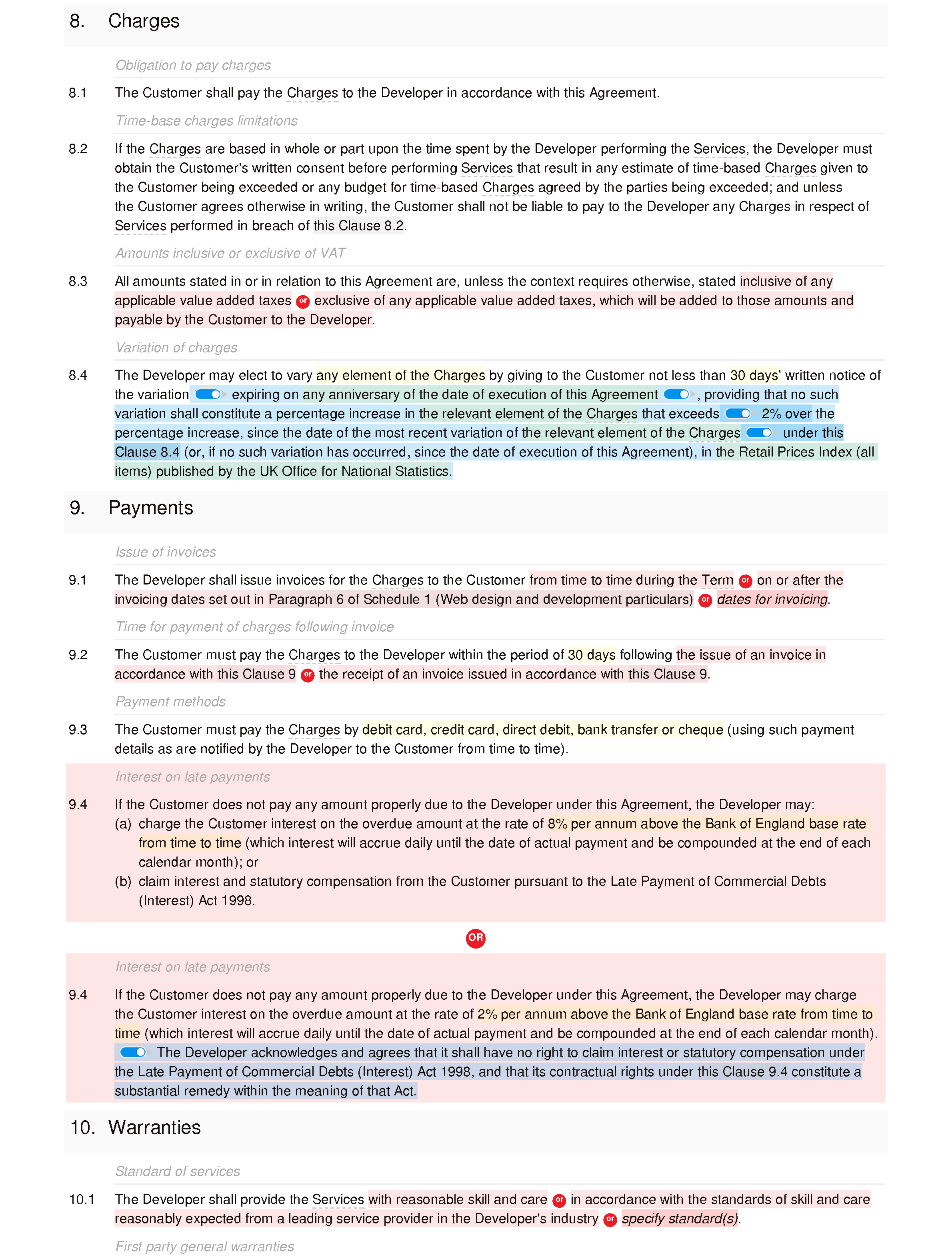 Web design and development agreement (basic) document editor preview