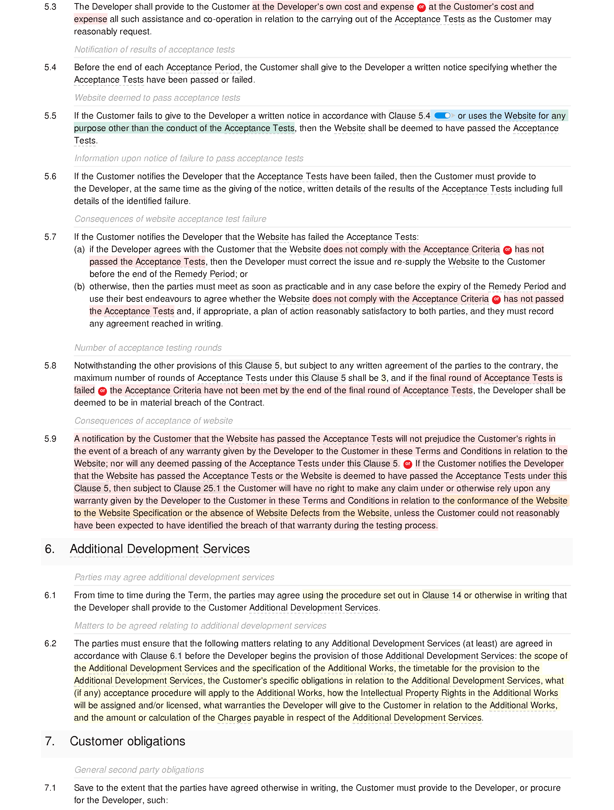 Web design and development terms and conditions (premium) document editor preview