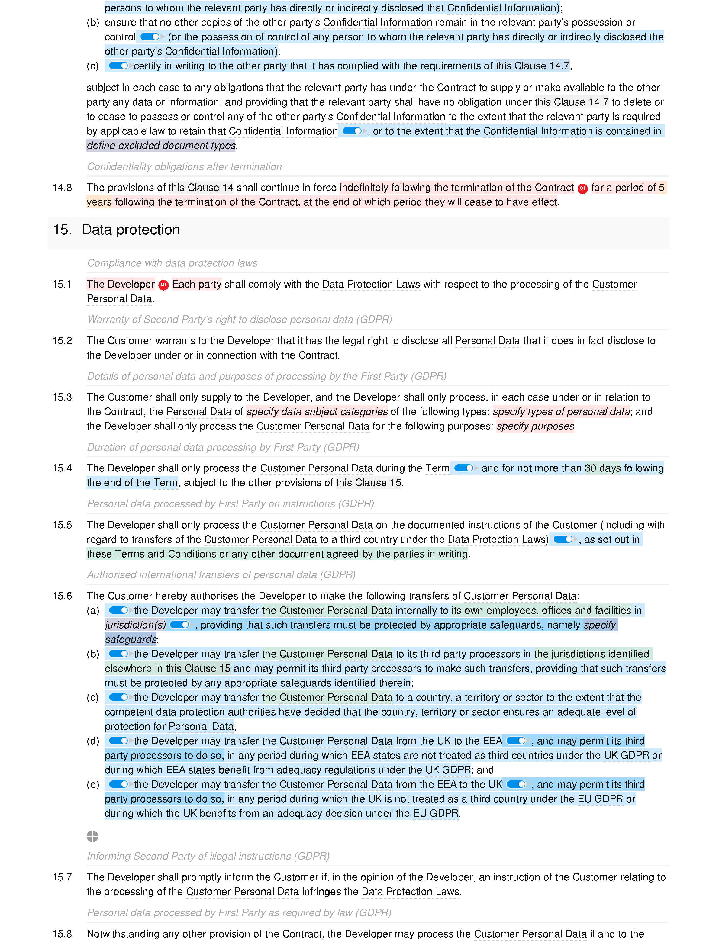 Web design and development terms and conditions (standard) document editor preview