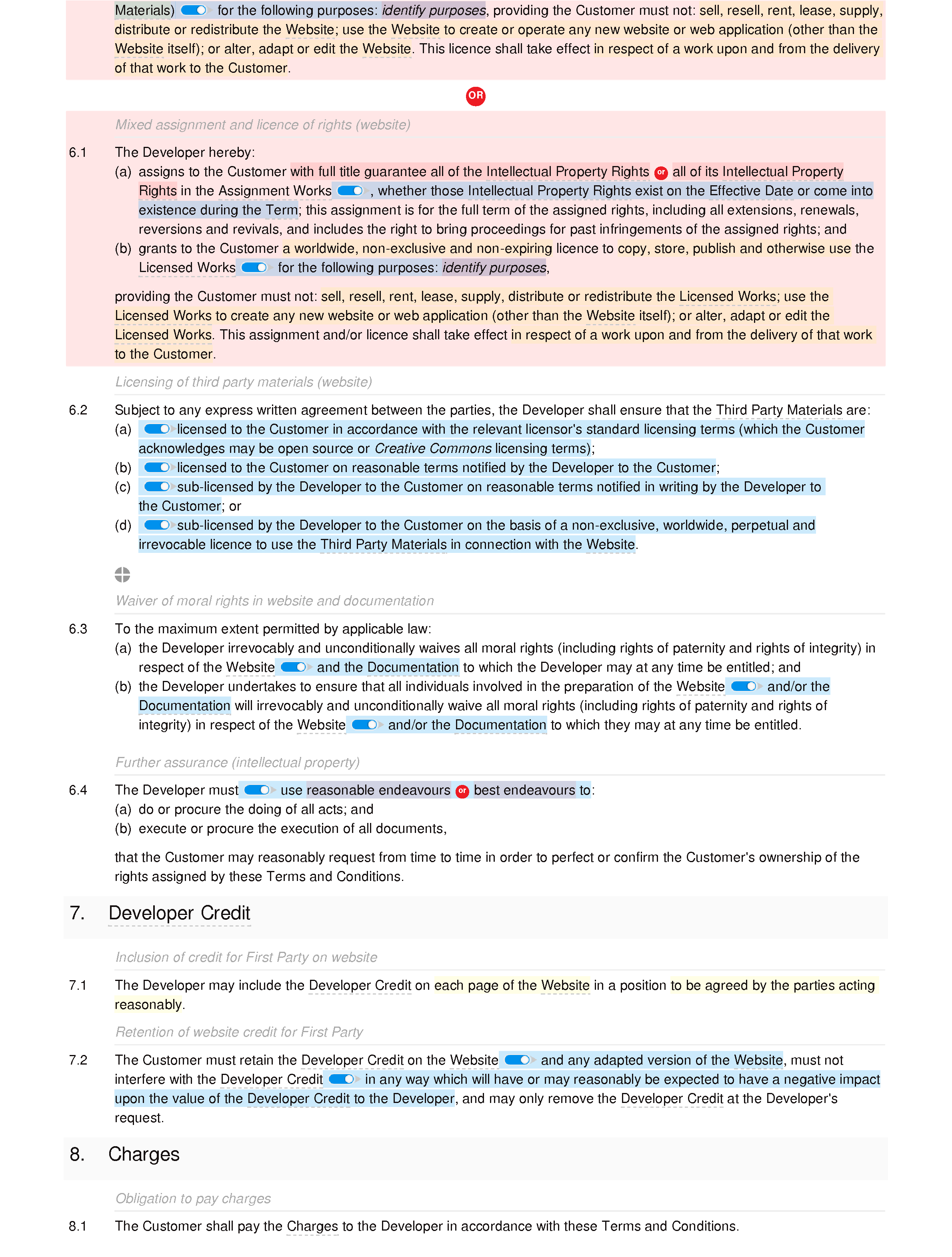 Web design and development terms and conditions (basic) document editor preview