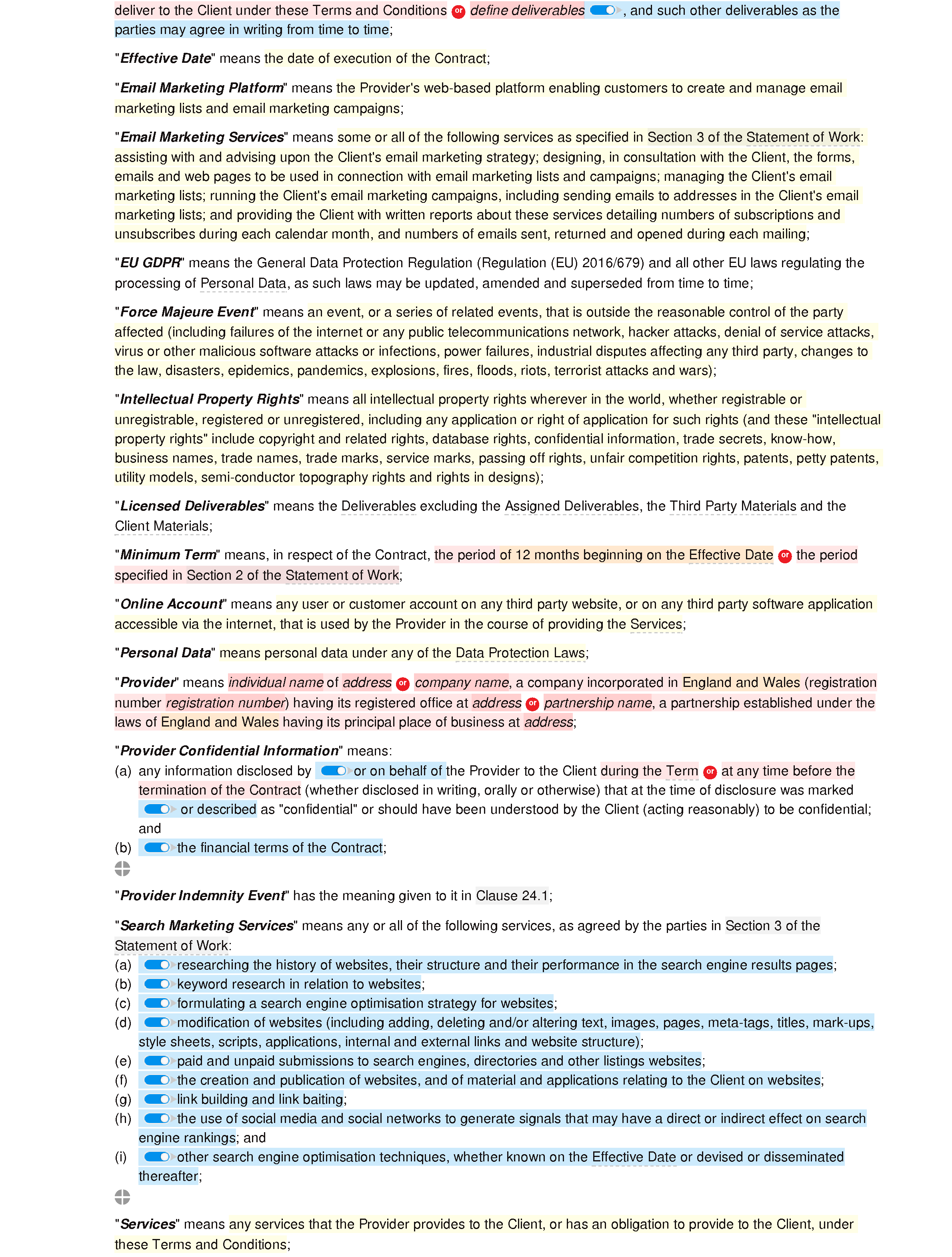 Web marketing terms and conditions document editor preview