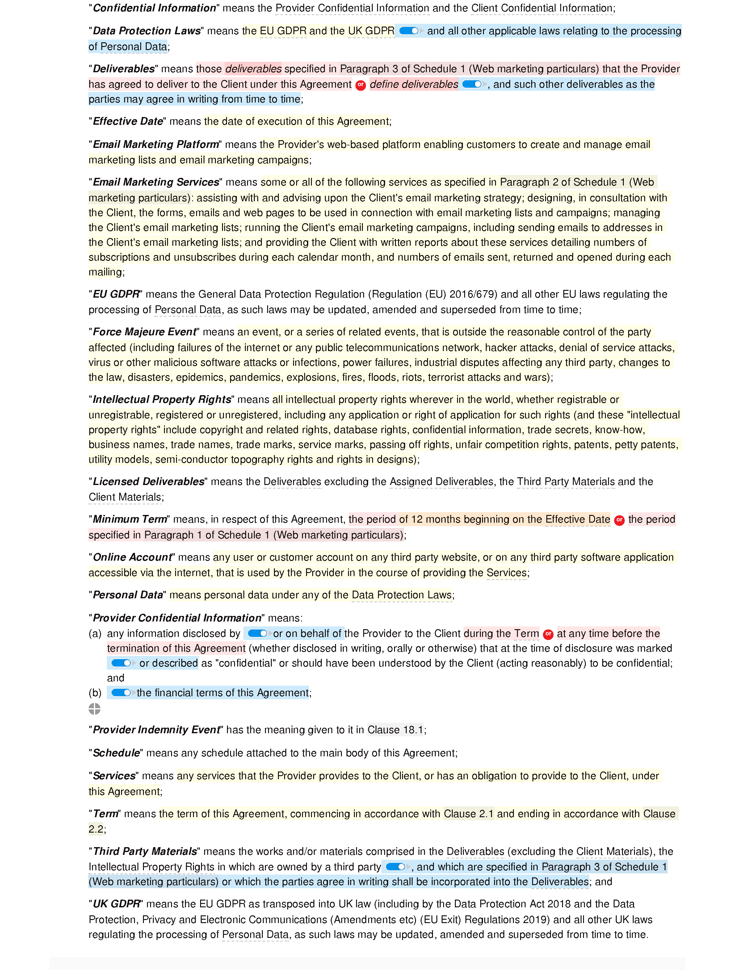 Email marketing agreement document editor preview