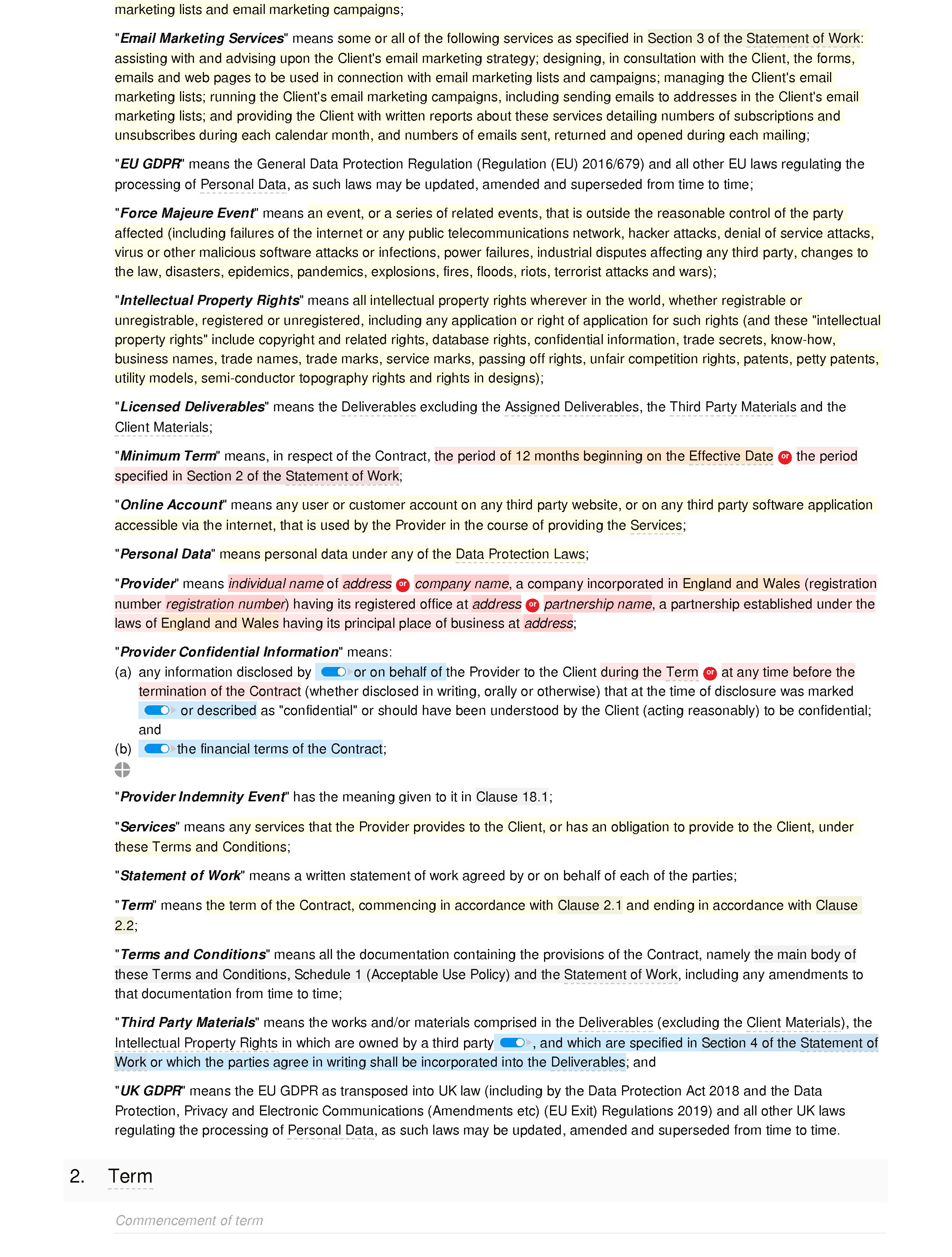 Email marketing terms and conditions document editor preview