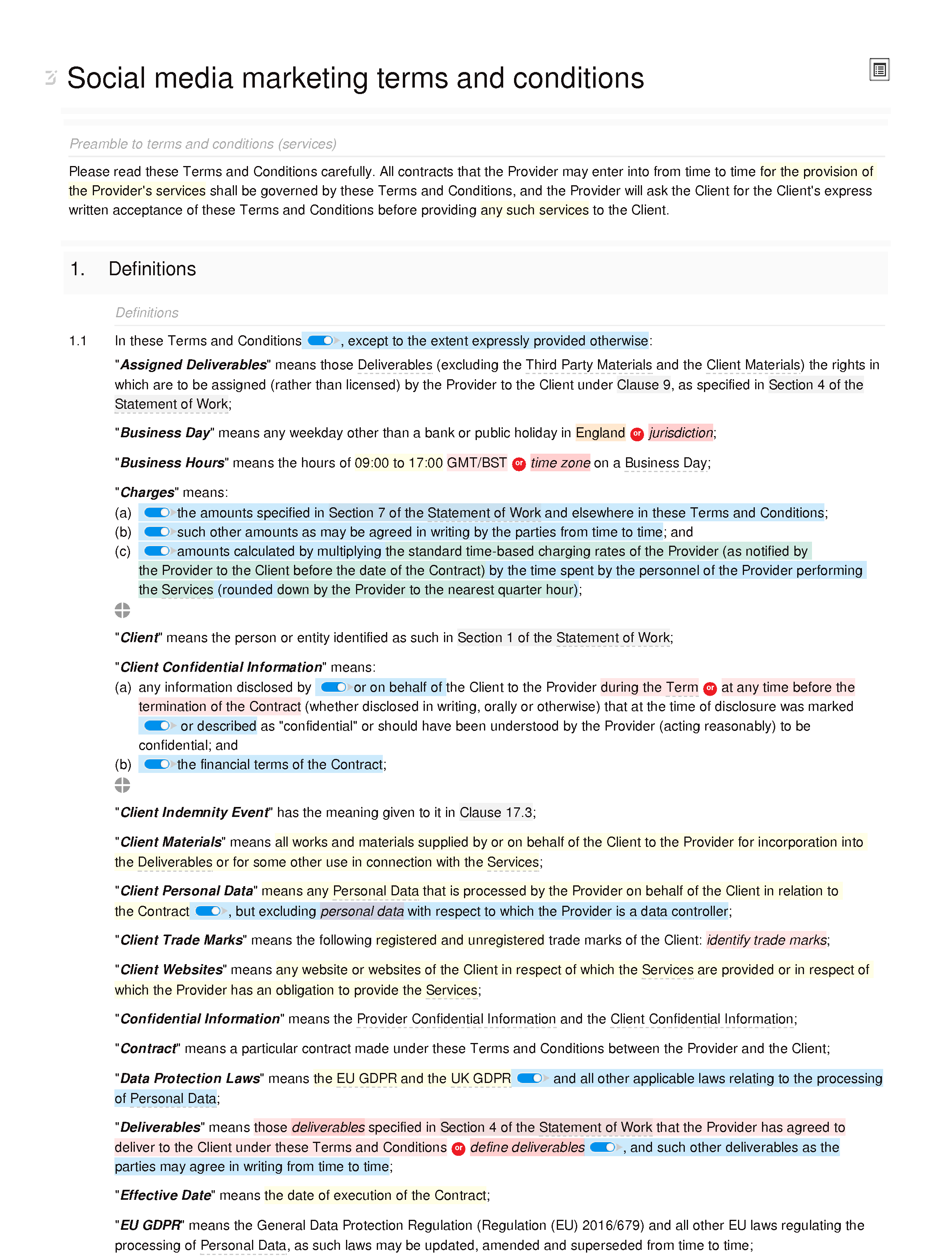 Social media marketing terms and conditions document editor preview