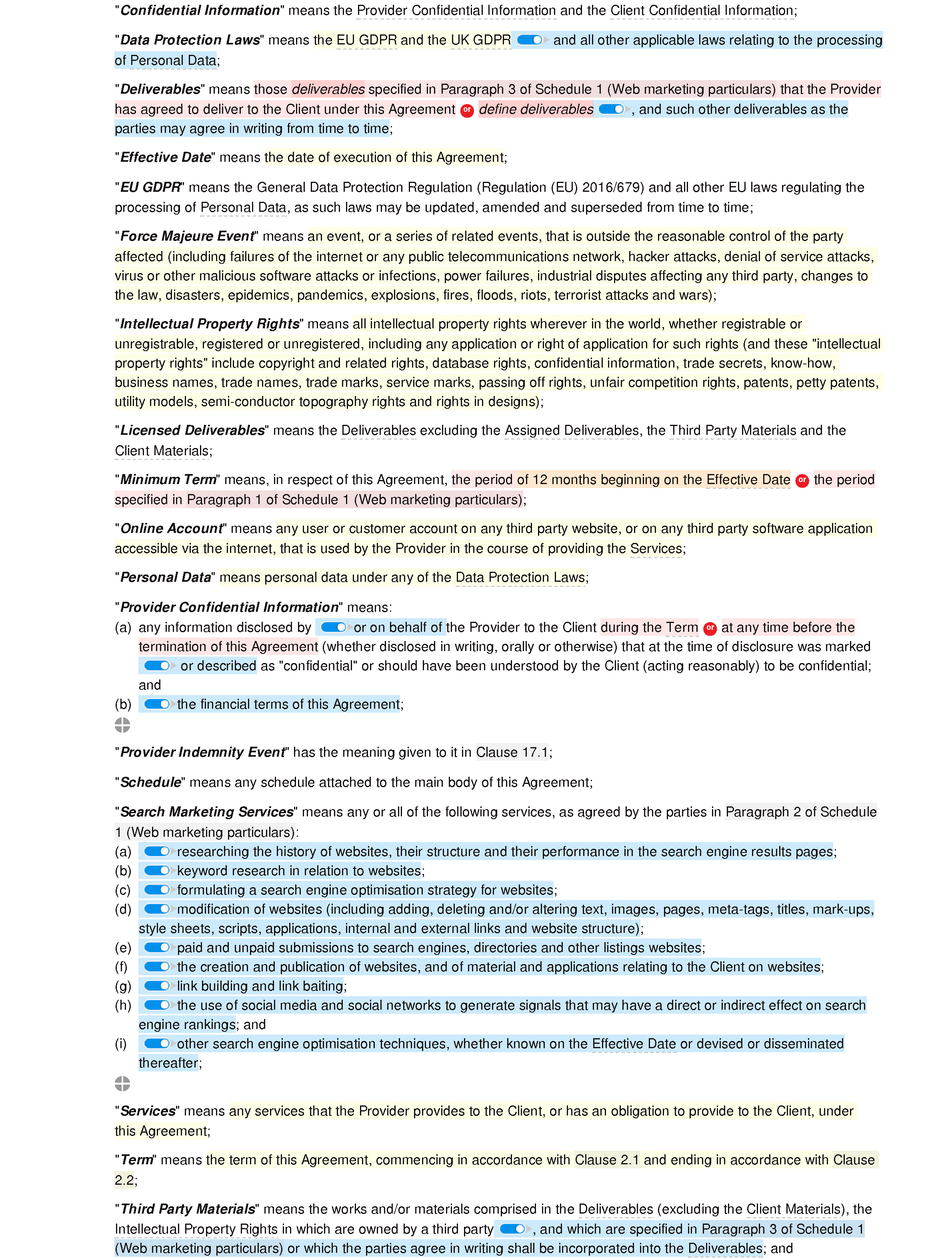 SEO agreement document editor preview