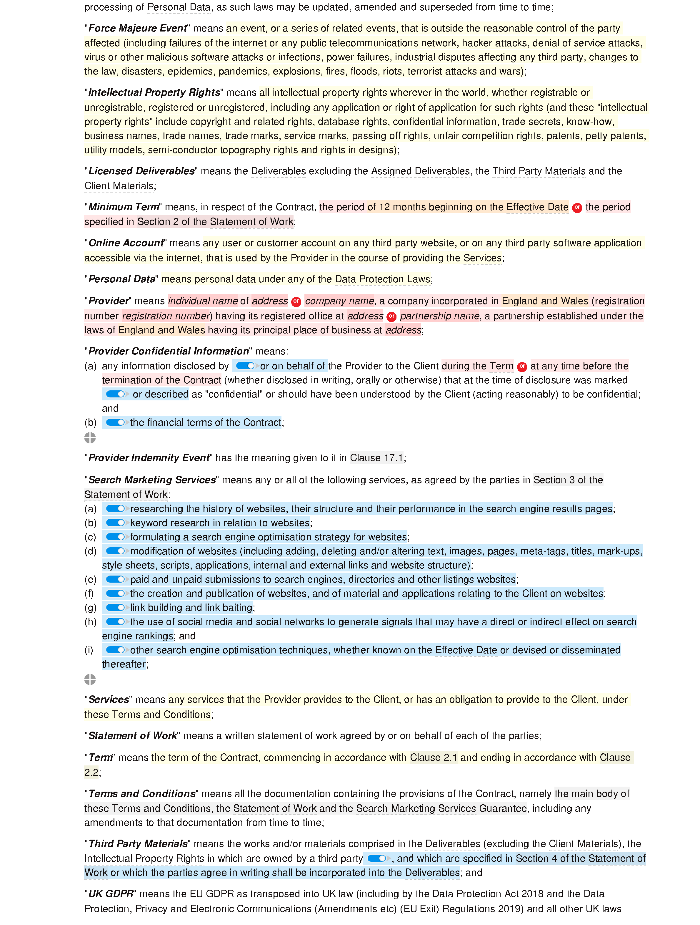 SEO terms and conditions document editor preview