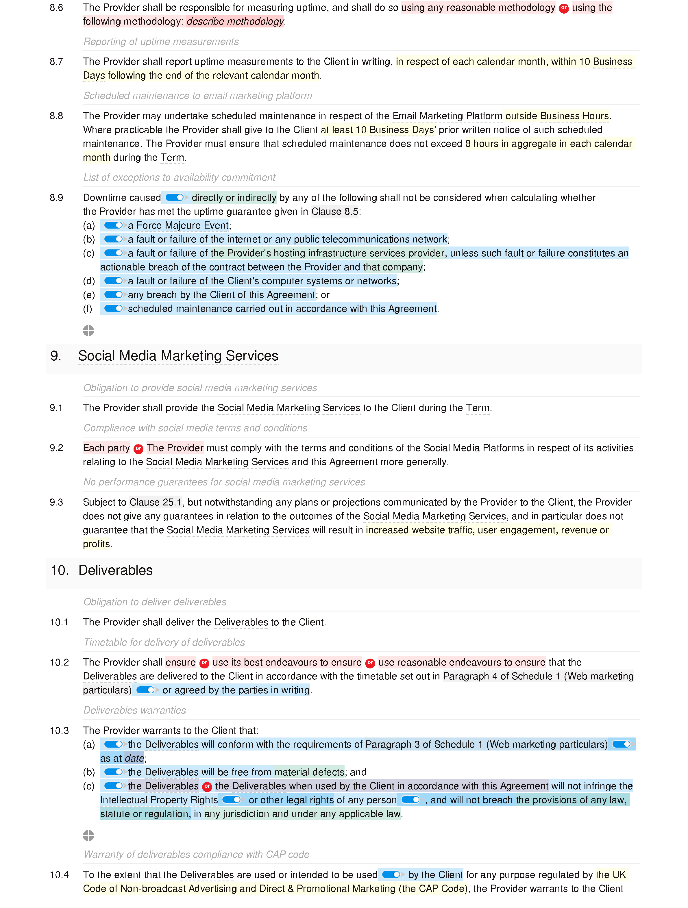 Web marketing agreement document editor preview