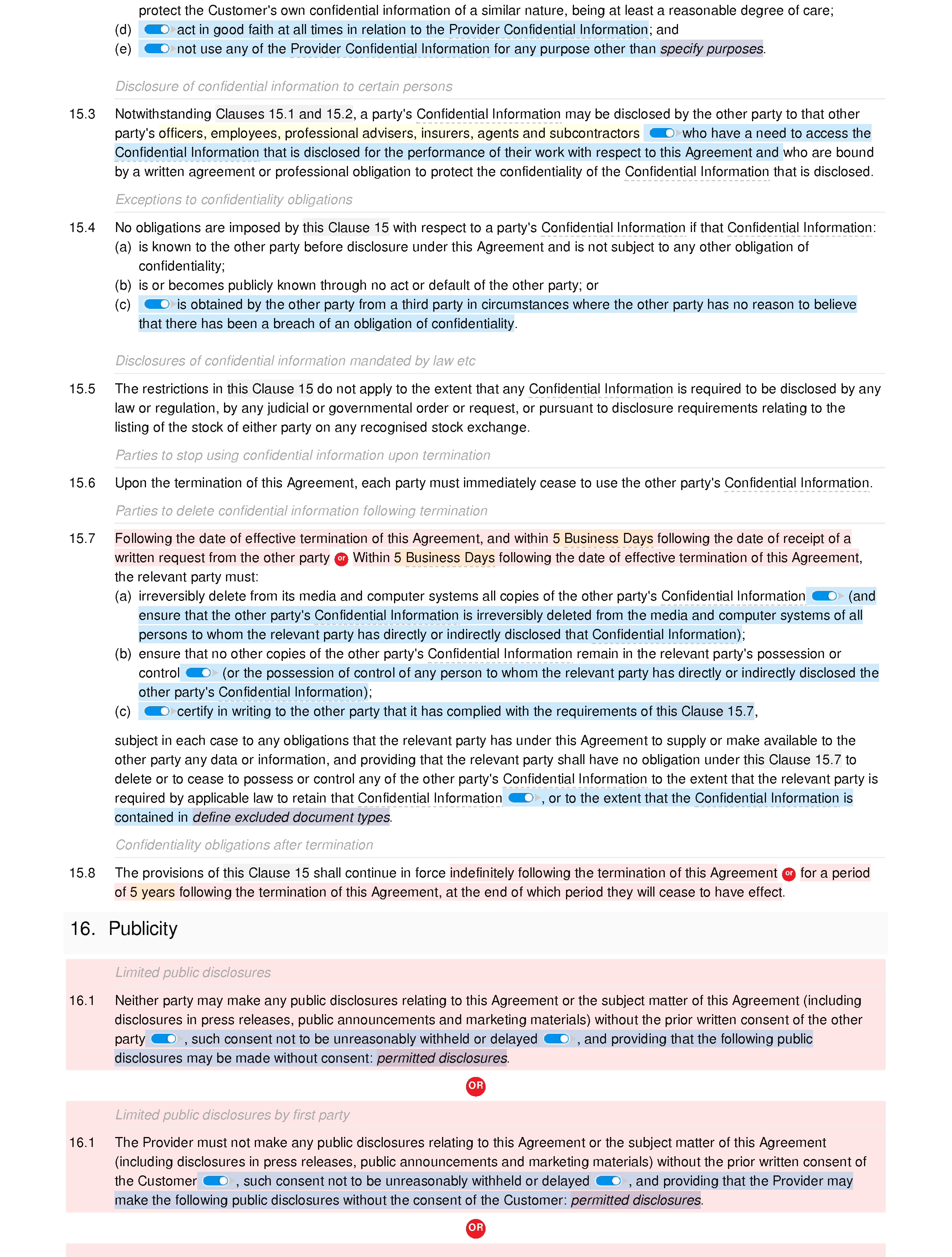 Web services agreement document editor preview