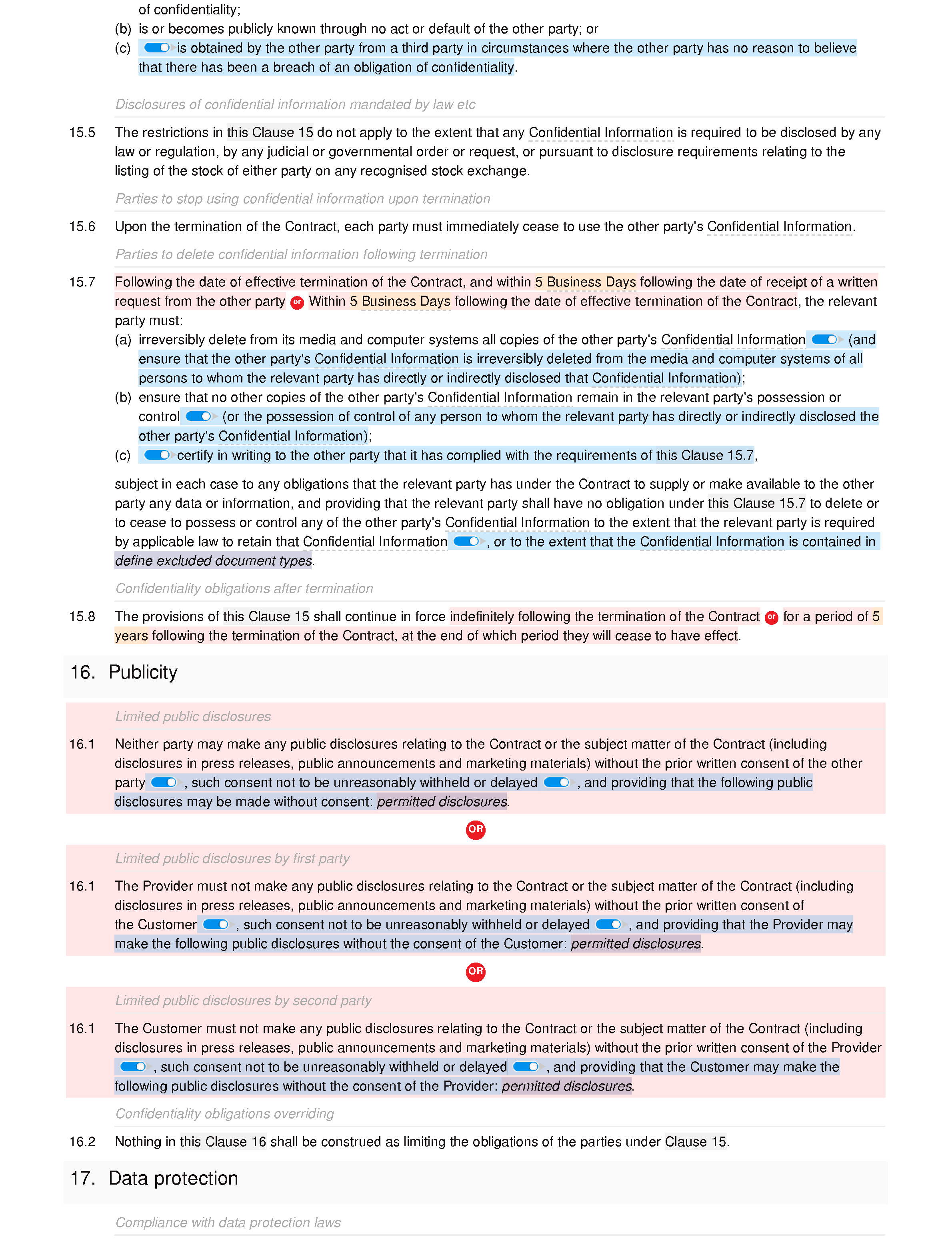 Web services terms and conditions document editor preview
