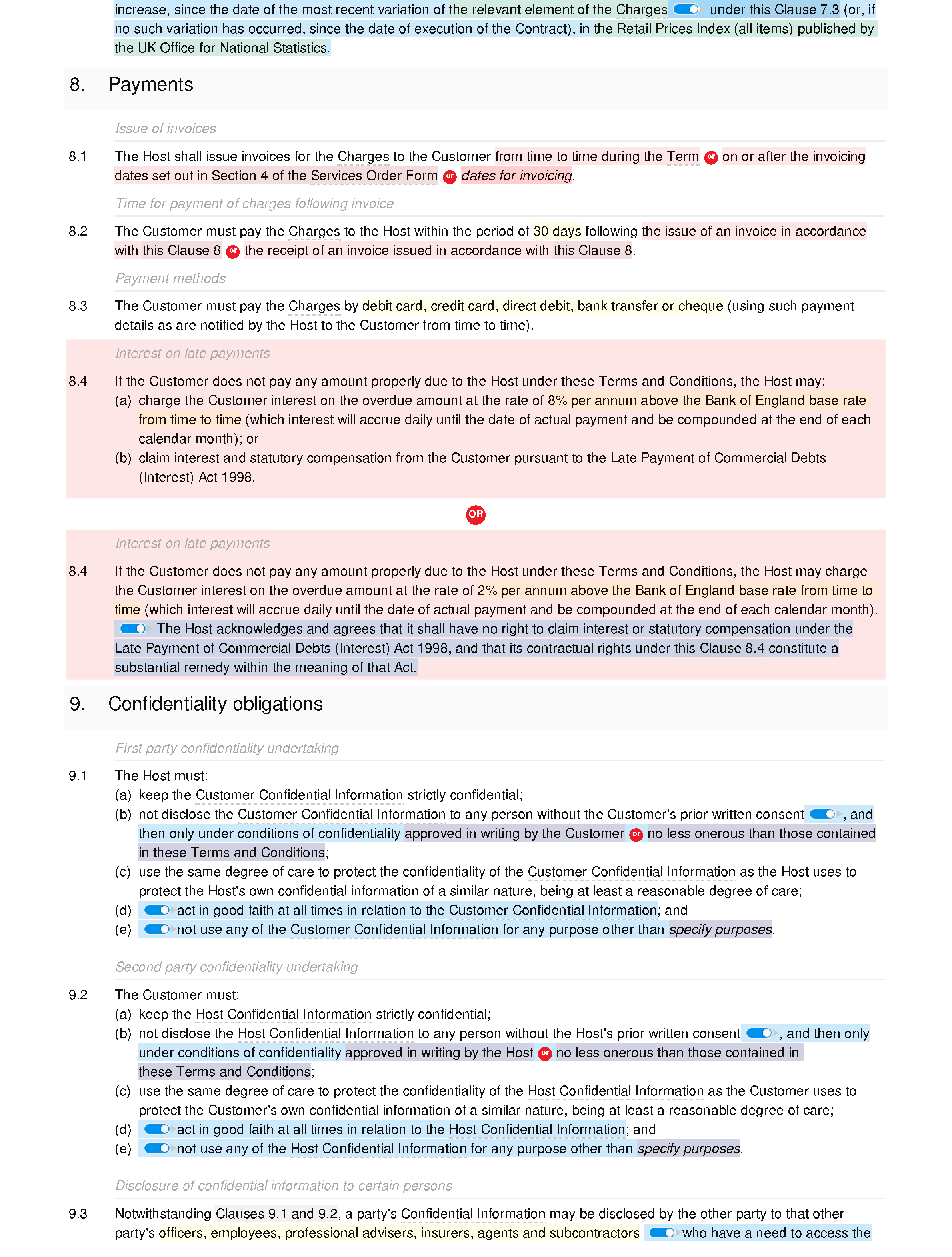 Hosting services terms and conditions document editor preview