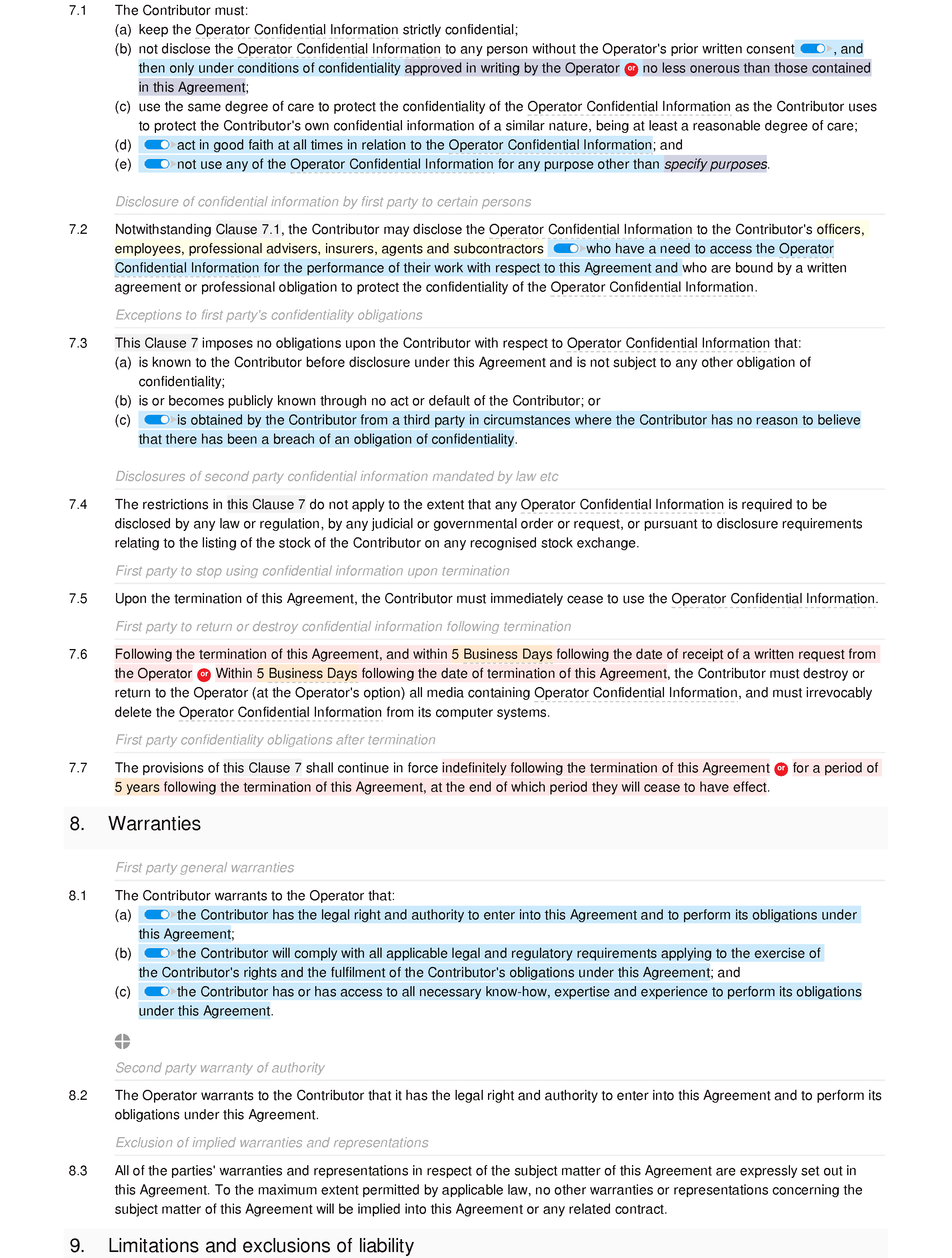 Website contributor agreement (unpaid) document editor preview