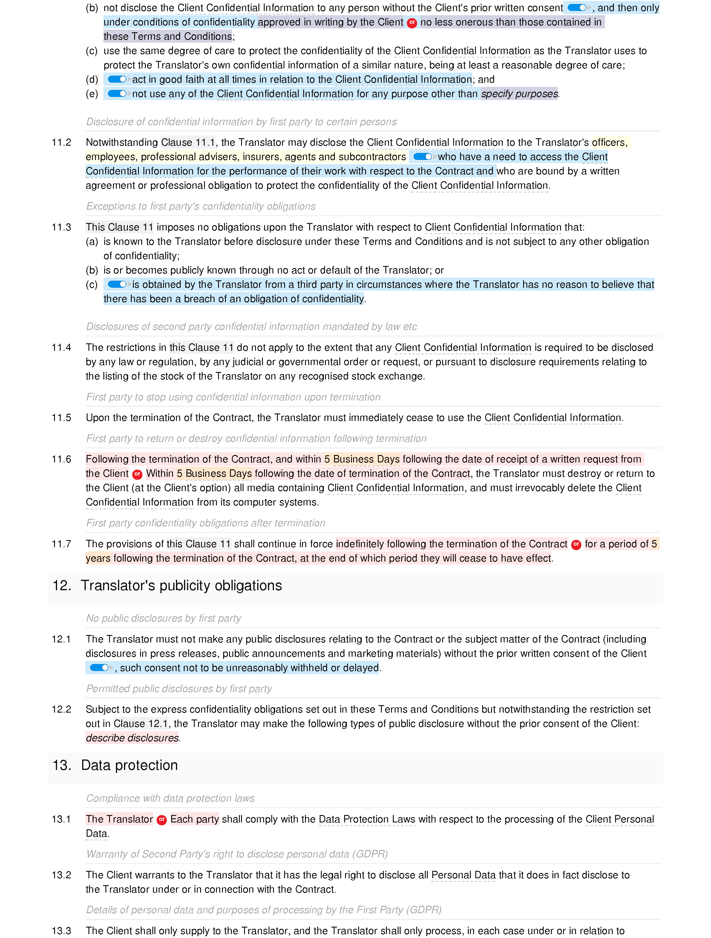 Translation services terms and conditions document editor preview