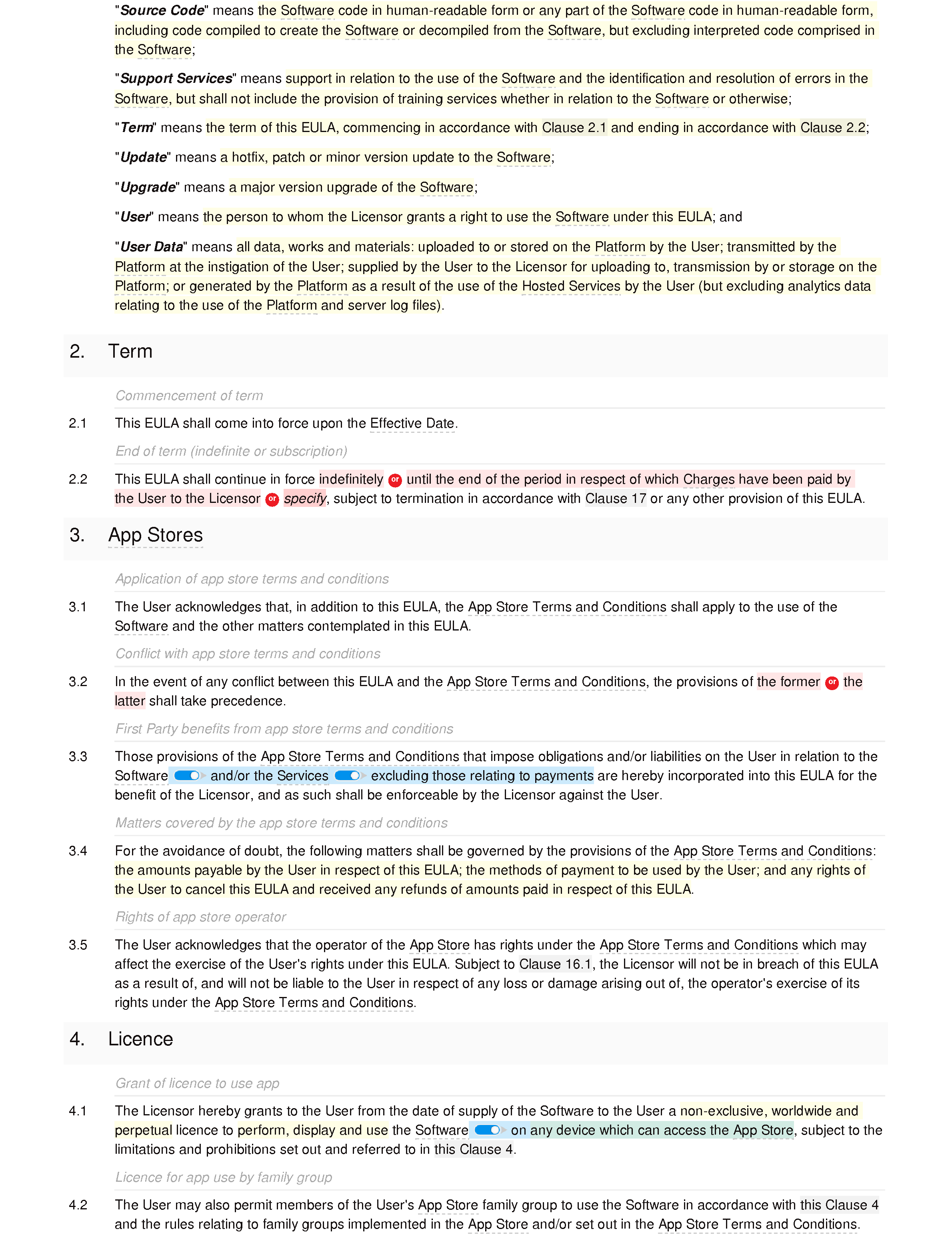 App EULA document editor preview