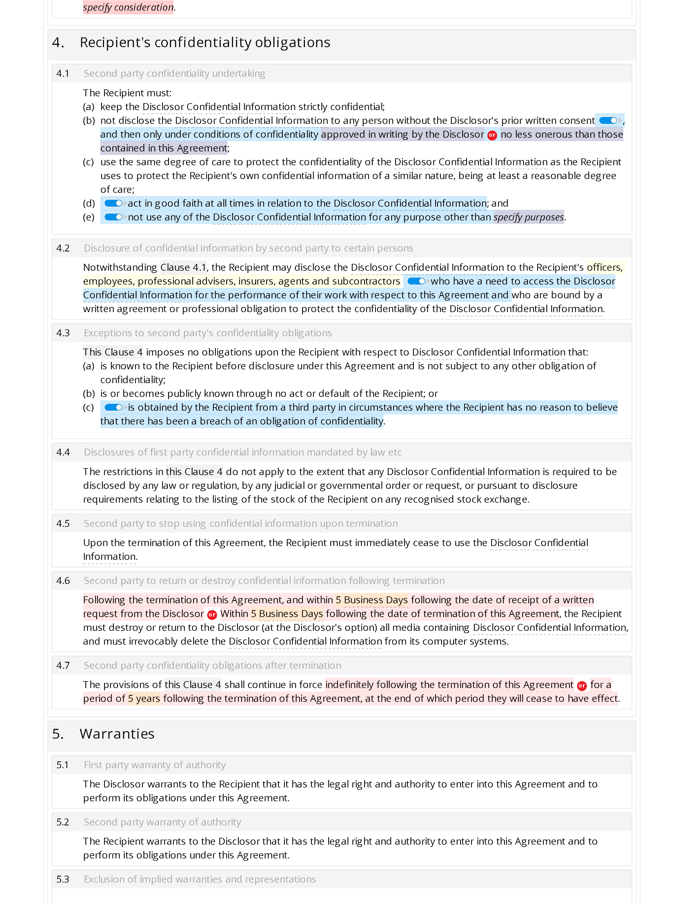 Non-disclosure agreement (unilateral, standard) document editor preview