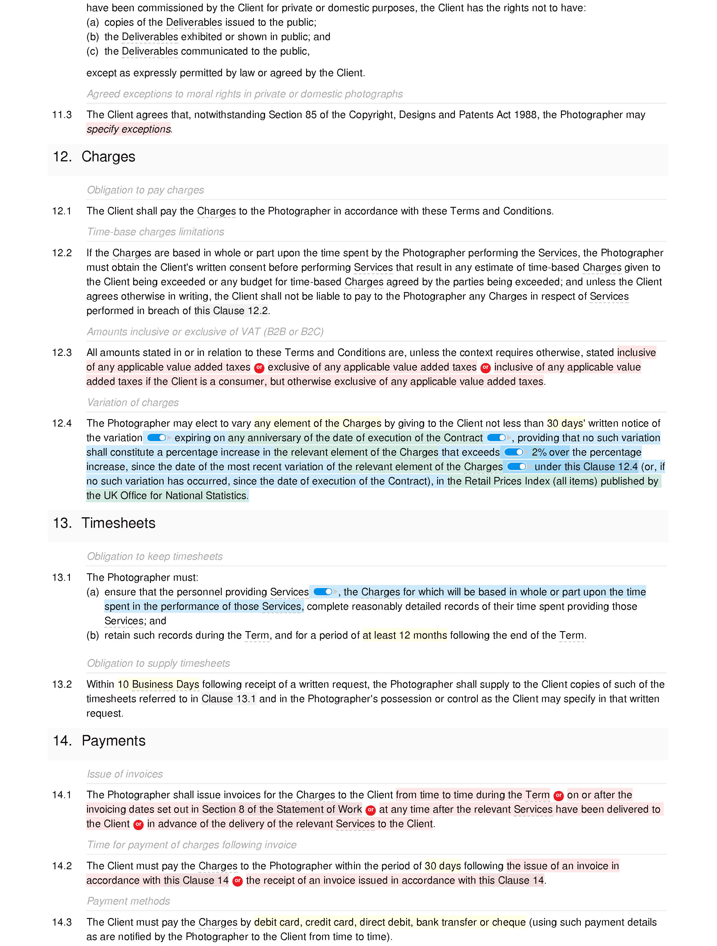 Photography terms and conditions document editor preview