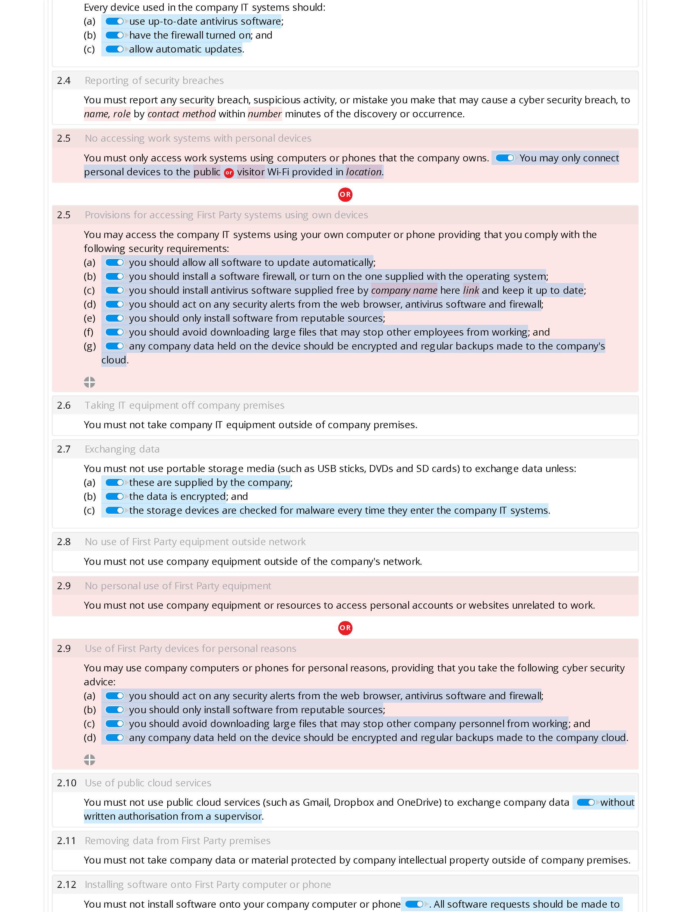 End user cyber security policy (premium) document editor preview