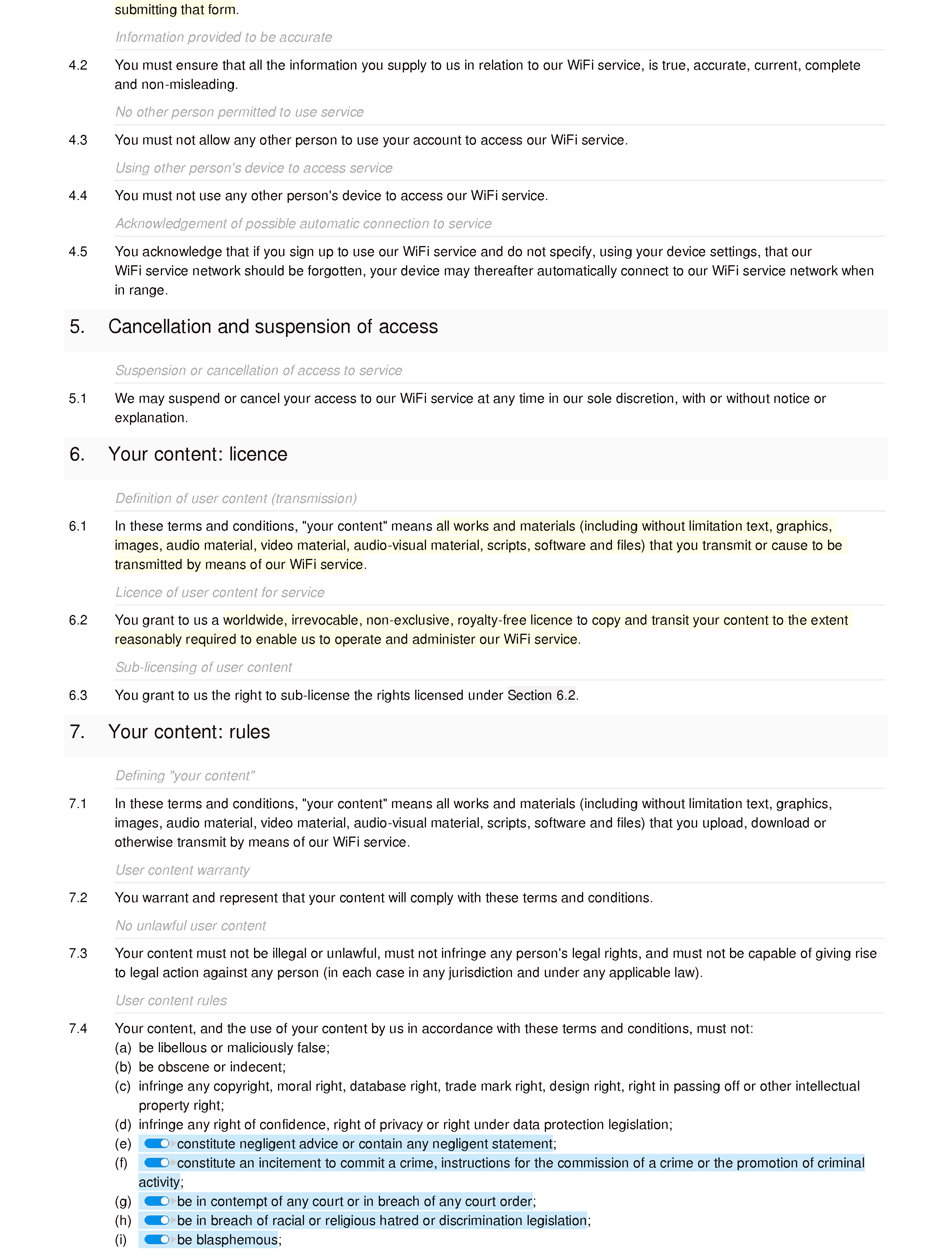 WiFi terms and conditions document editor preview
