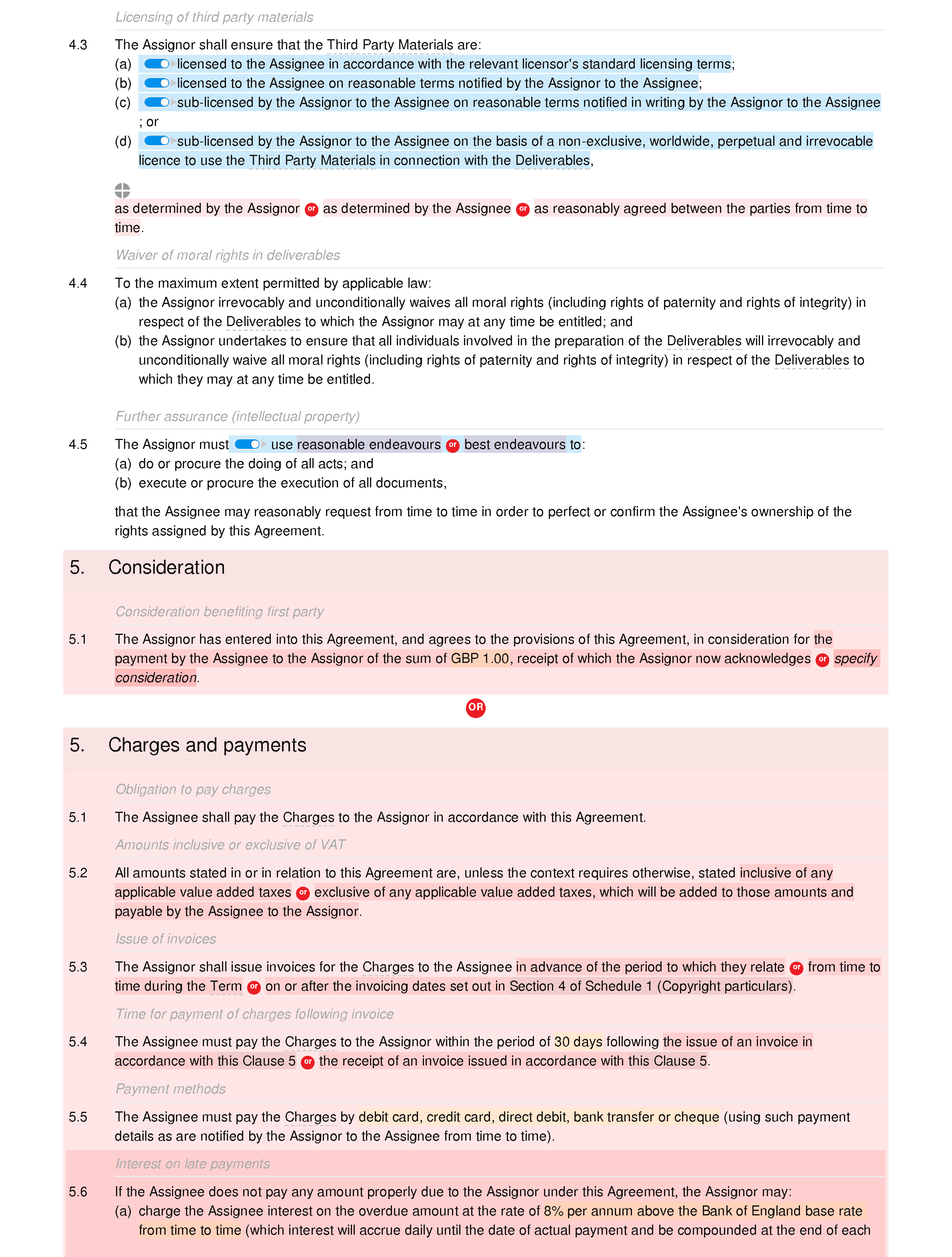 Copyright agreement document editor preview