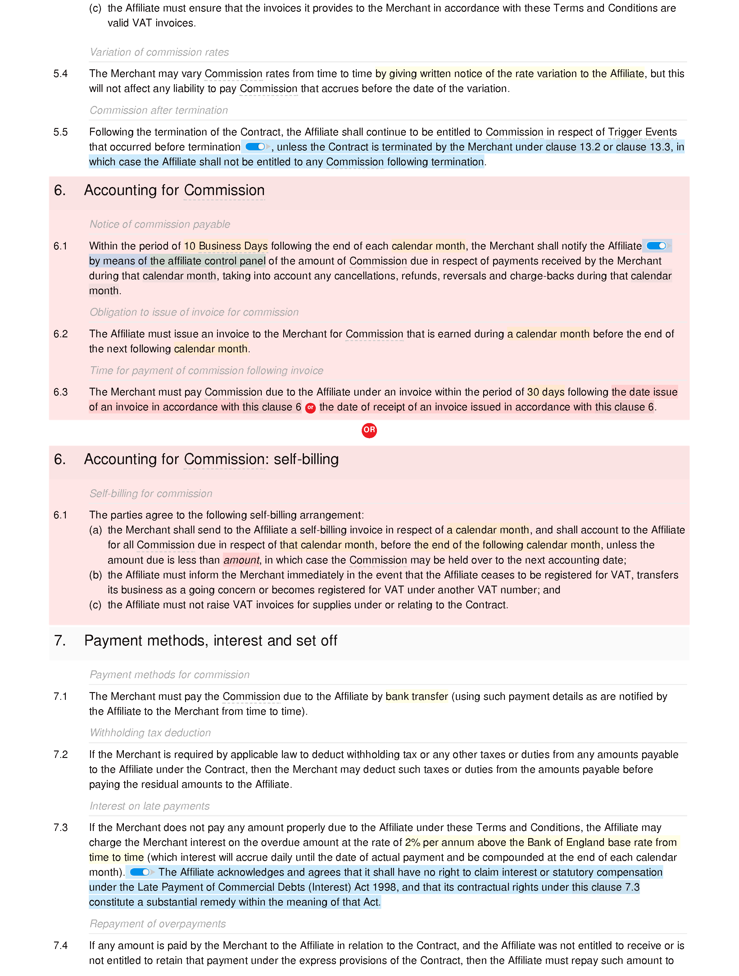 Affiliate terms and conditions (premium) document editor preview