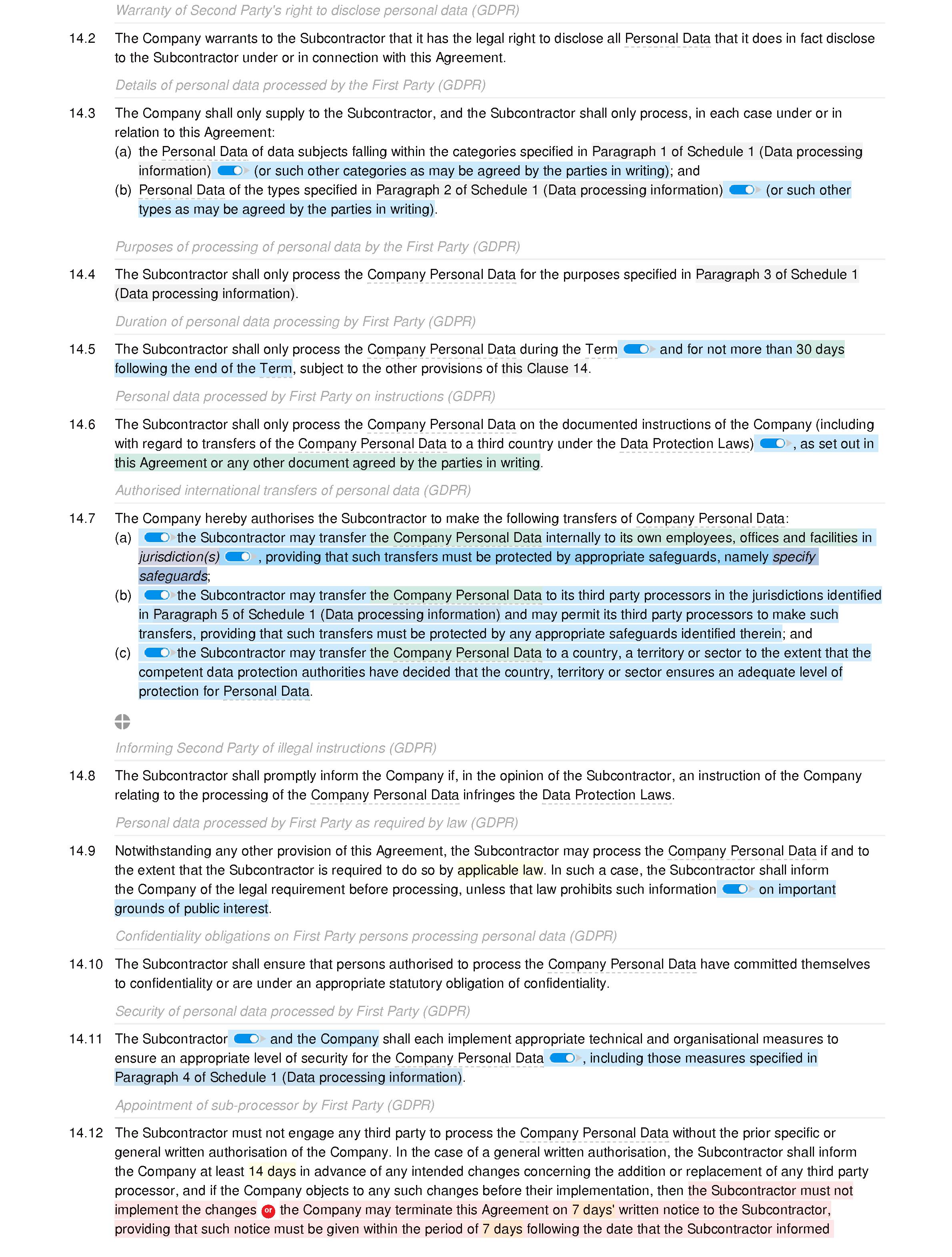 Subcontractor framework agreement (premium) document editor preview