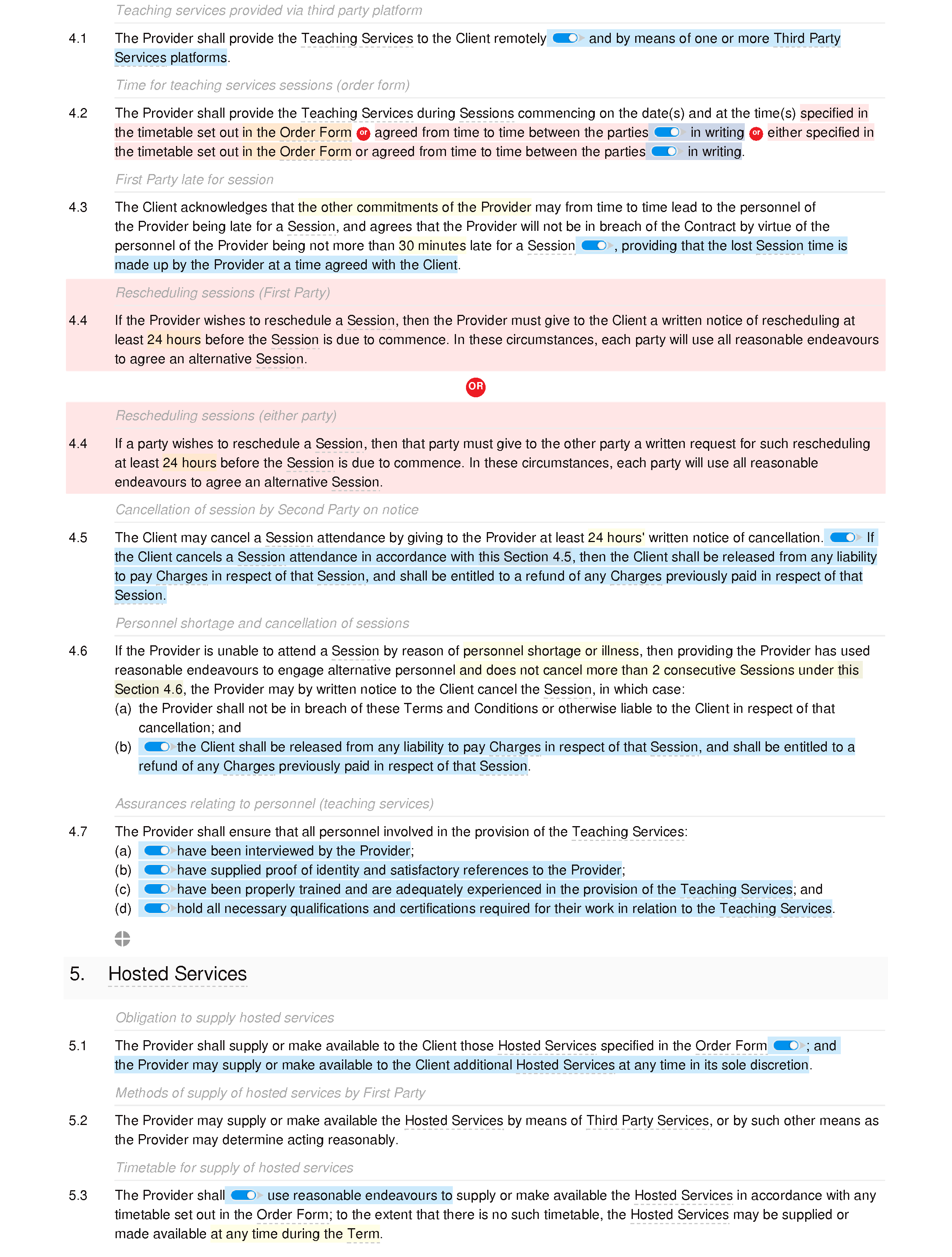 Online education and training terms and conditions (B2B and B2C) document editor preview