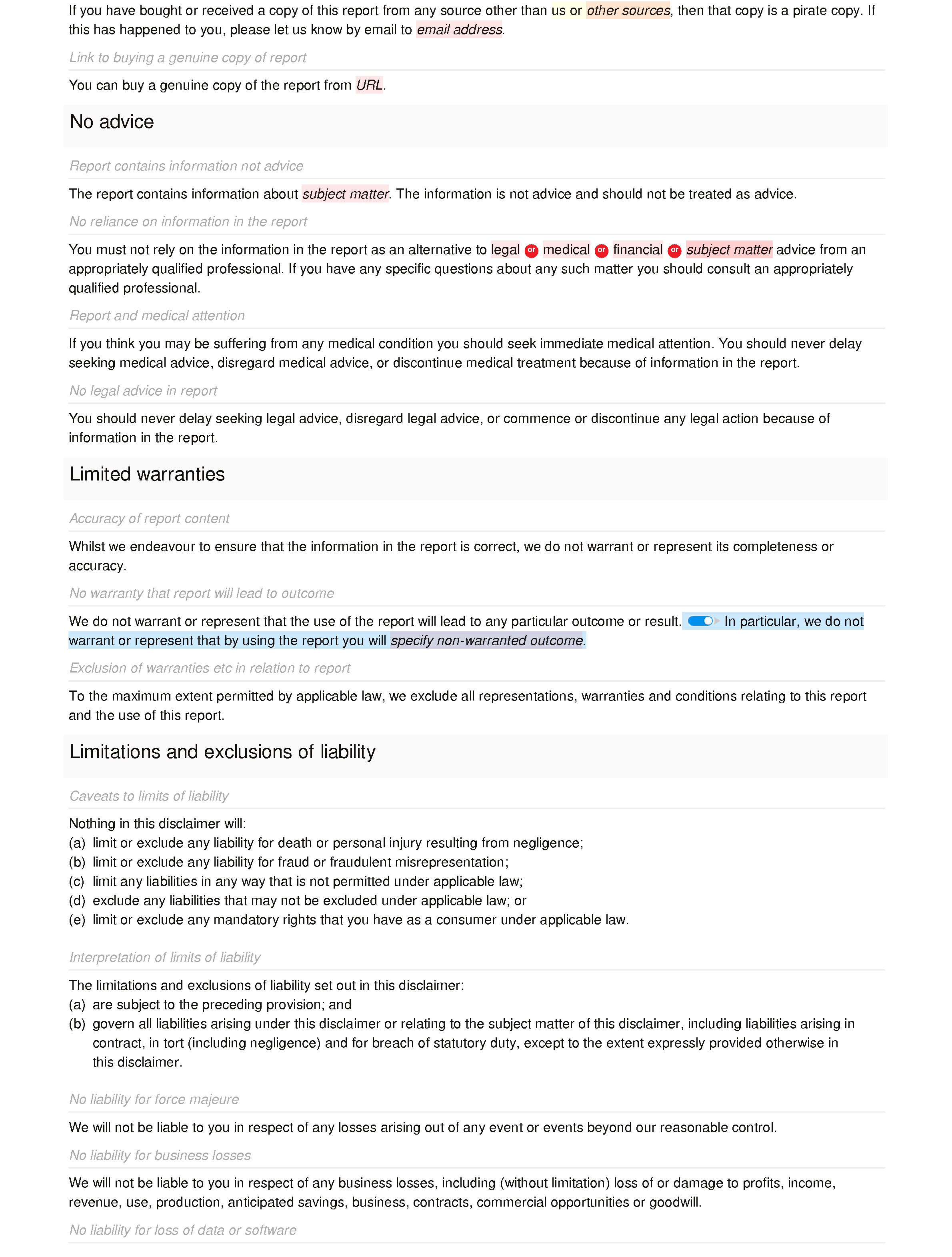 Report disclaimer document editor preview