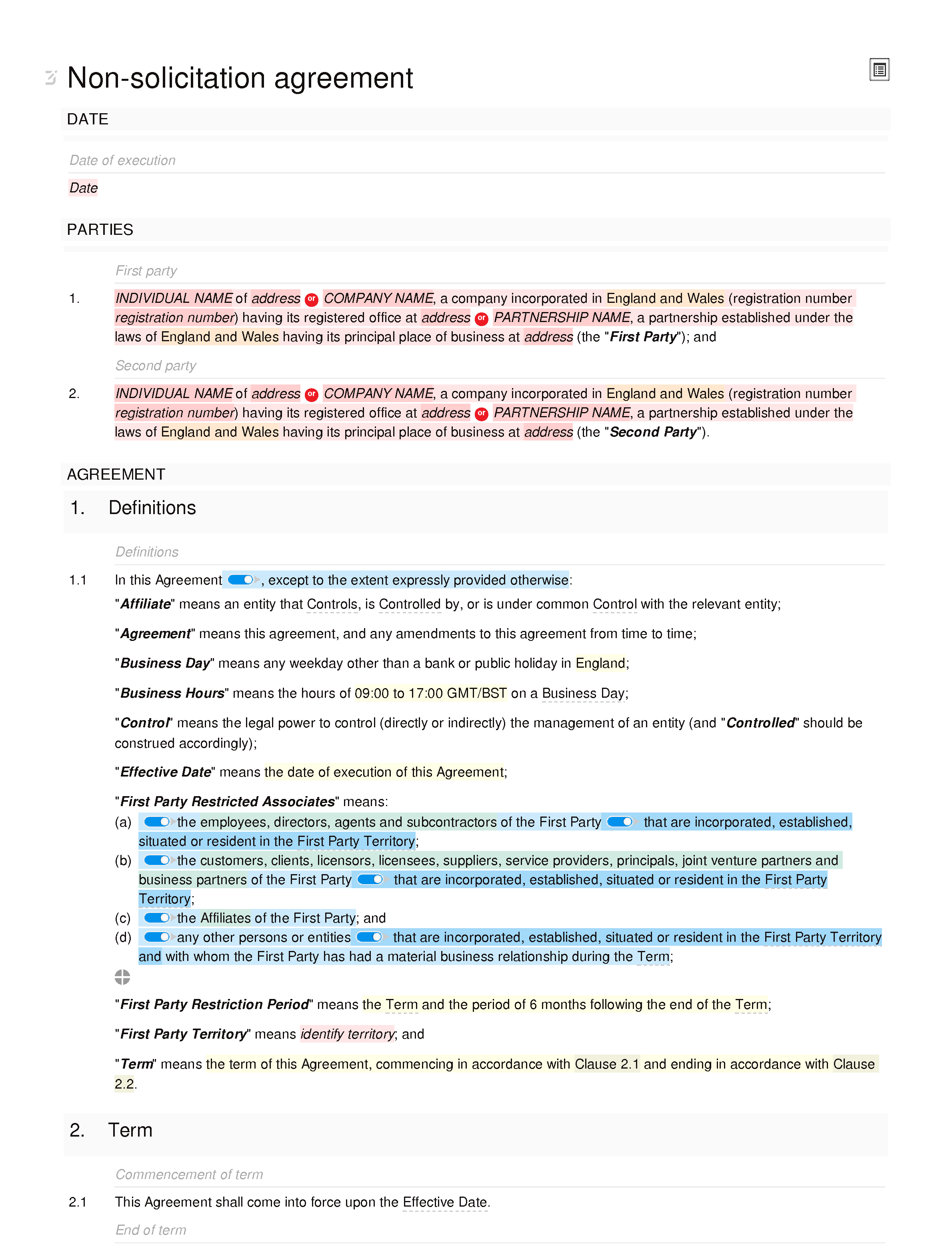 Non-solicitation agreement (unilateral) document editor preview