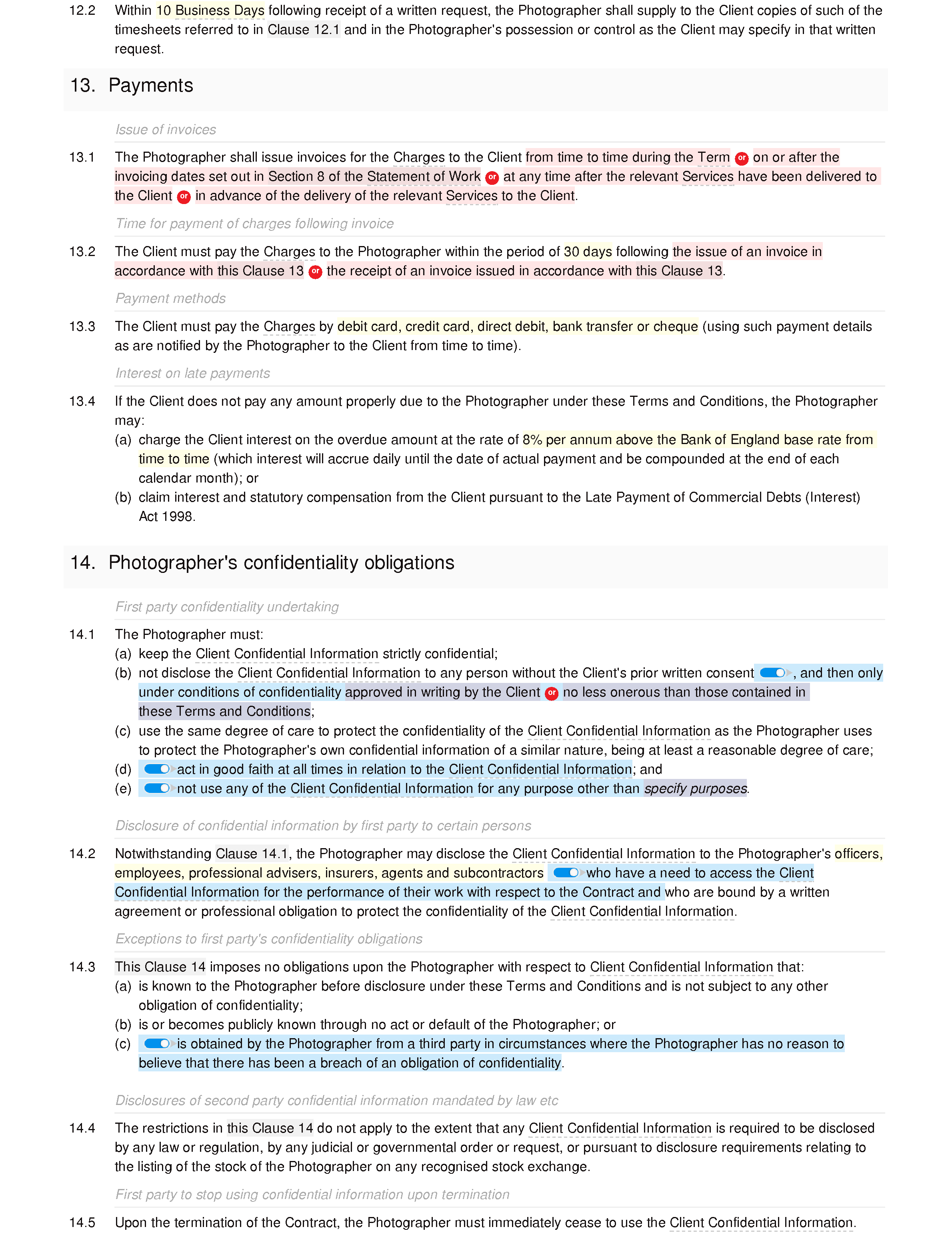 Wedding photography terms and conditions document editor preview