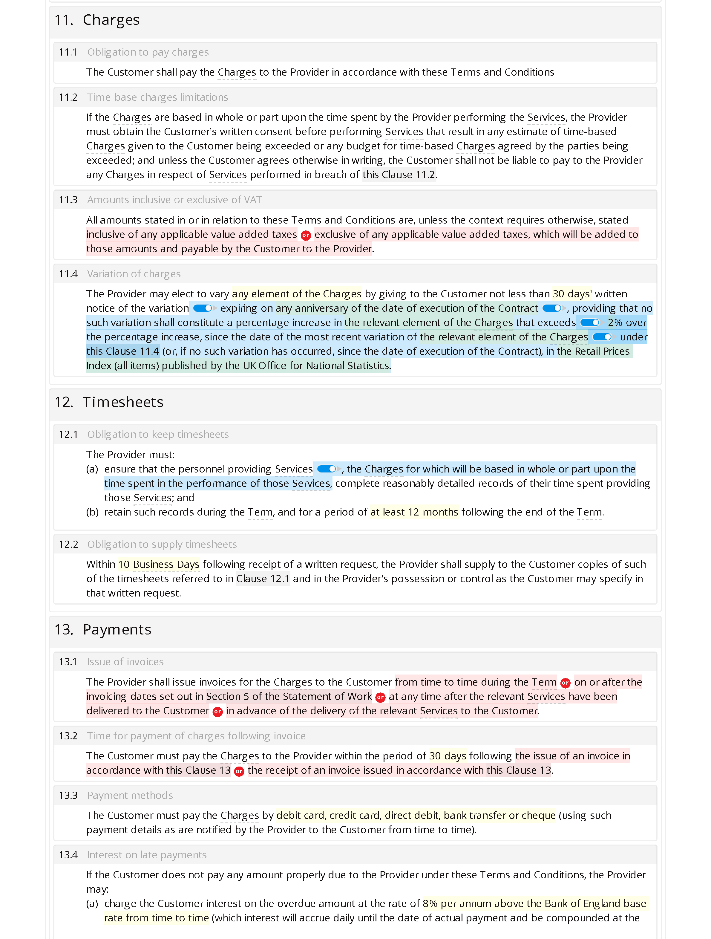 Office cleaning terms and conditions document editor preview