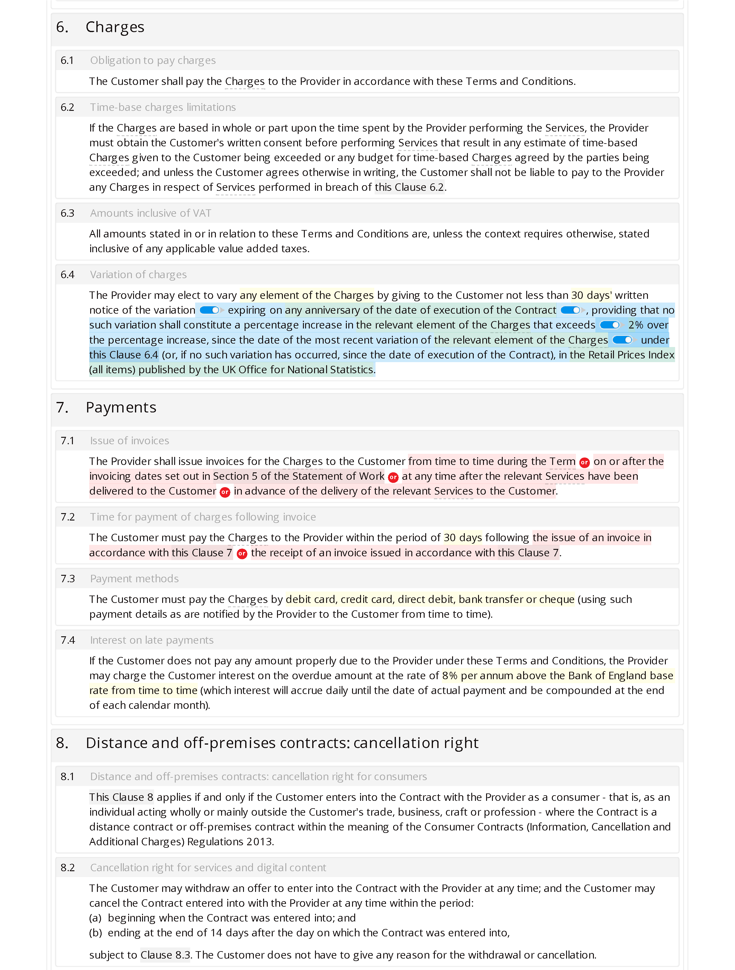 Domestic cleaning terms and conditions document editor preview