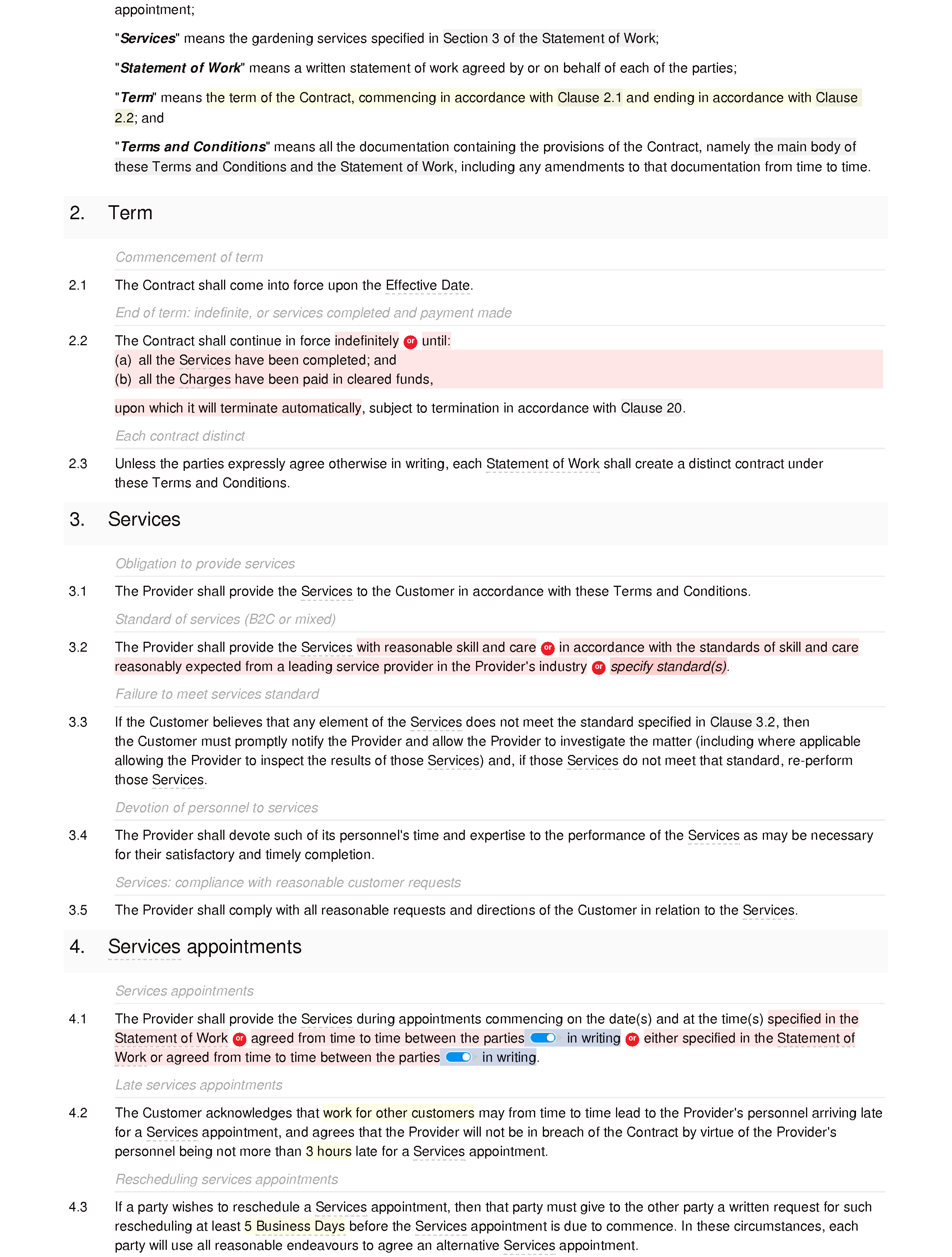 Gardening services terms and conditions document editor preview
