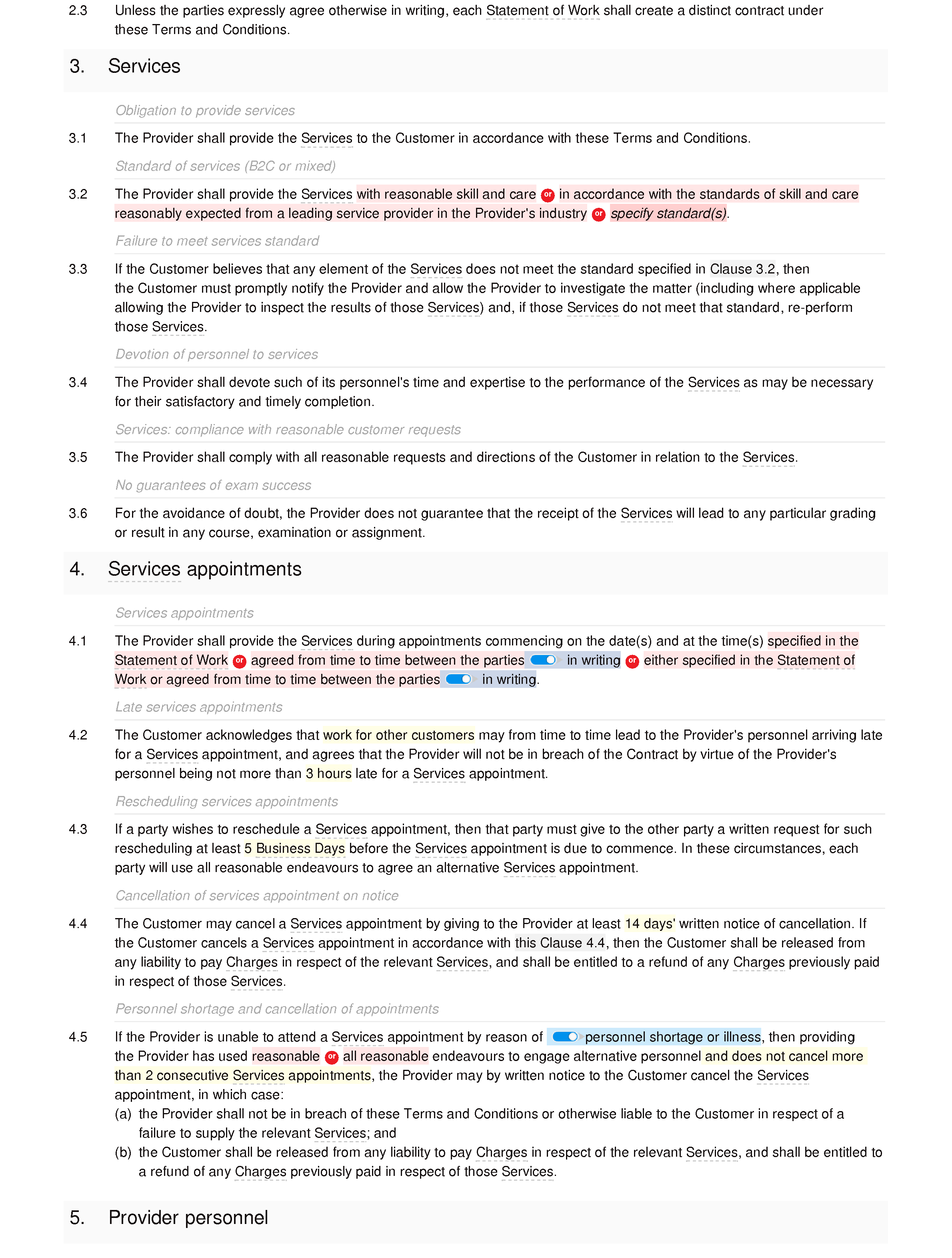Home tutoring terms and conditions document editor preview