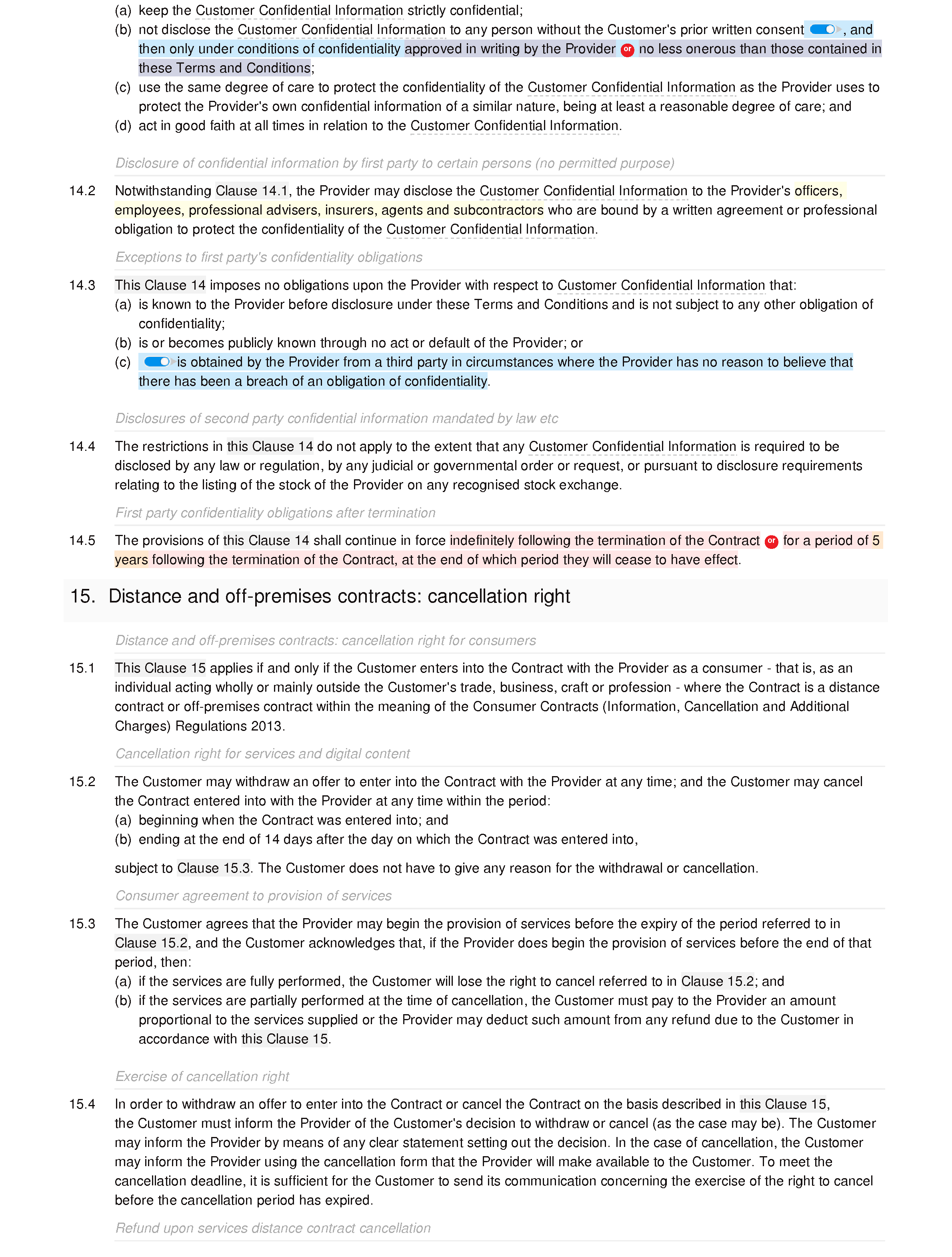 Handyman services terms and conditions document editor preview