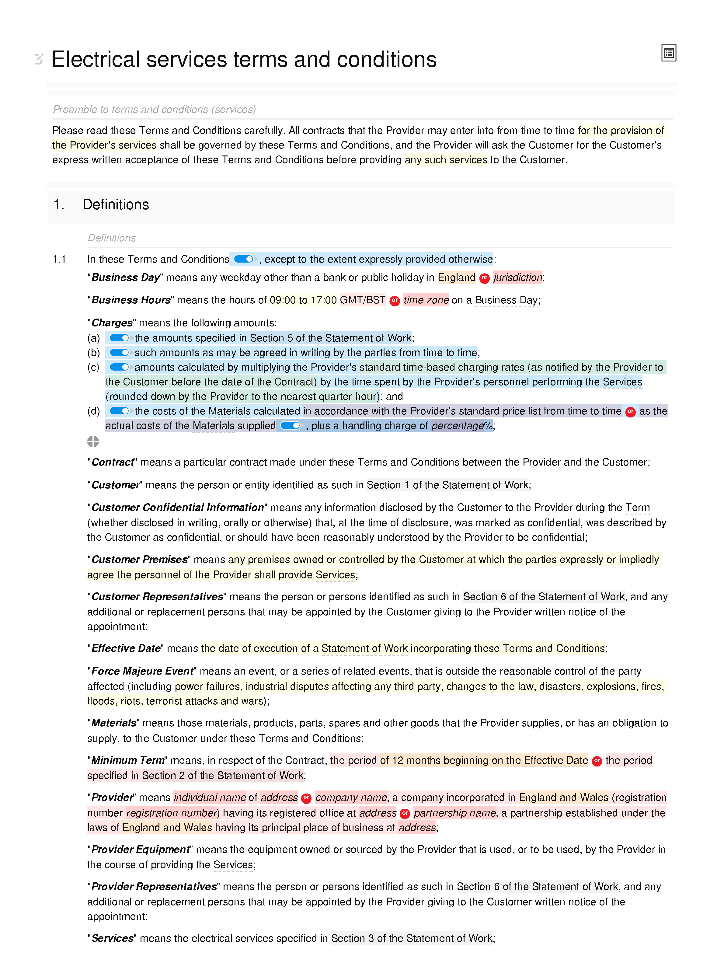 Electrical services terms and conditions document editor preview
