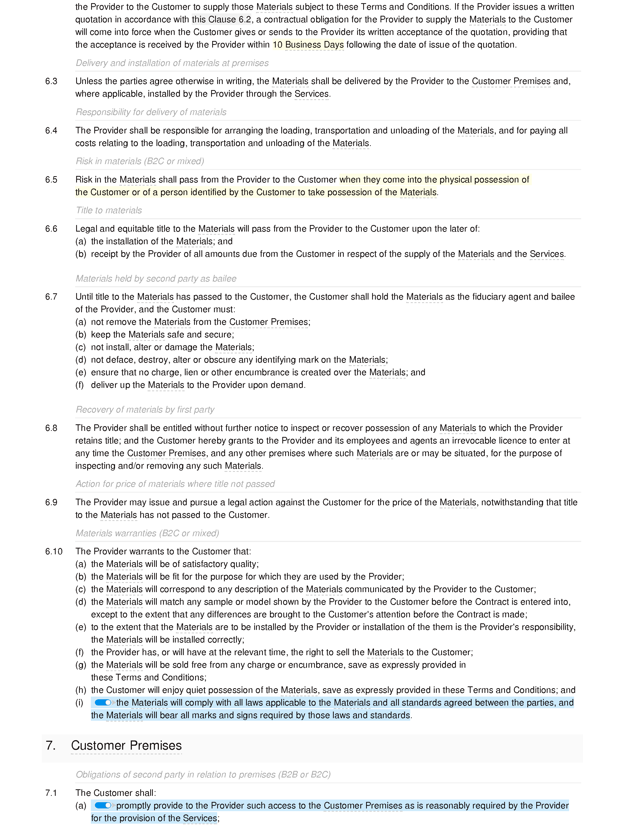 Plastering services terms and conditions document editor preview
