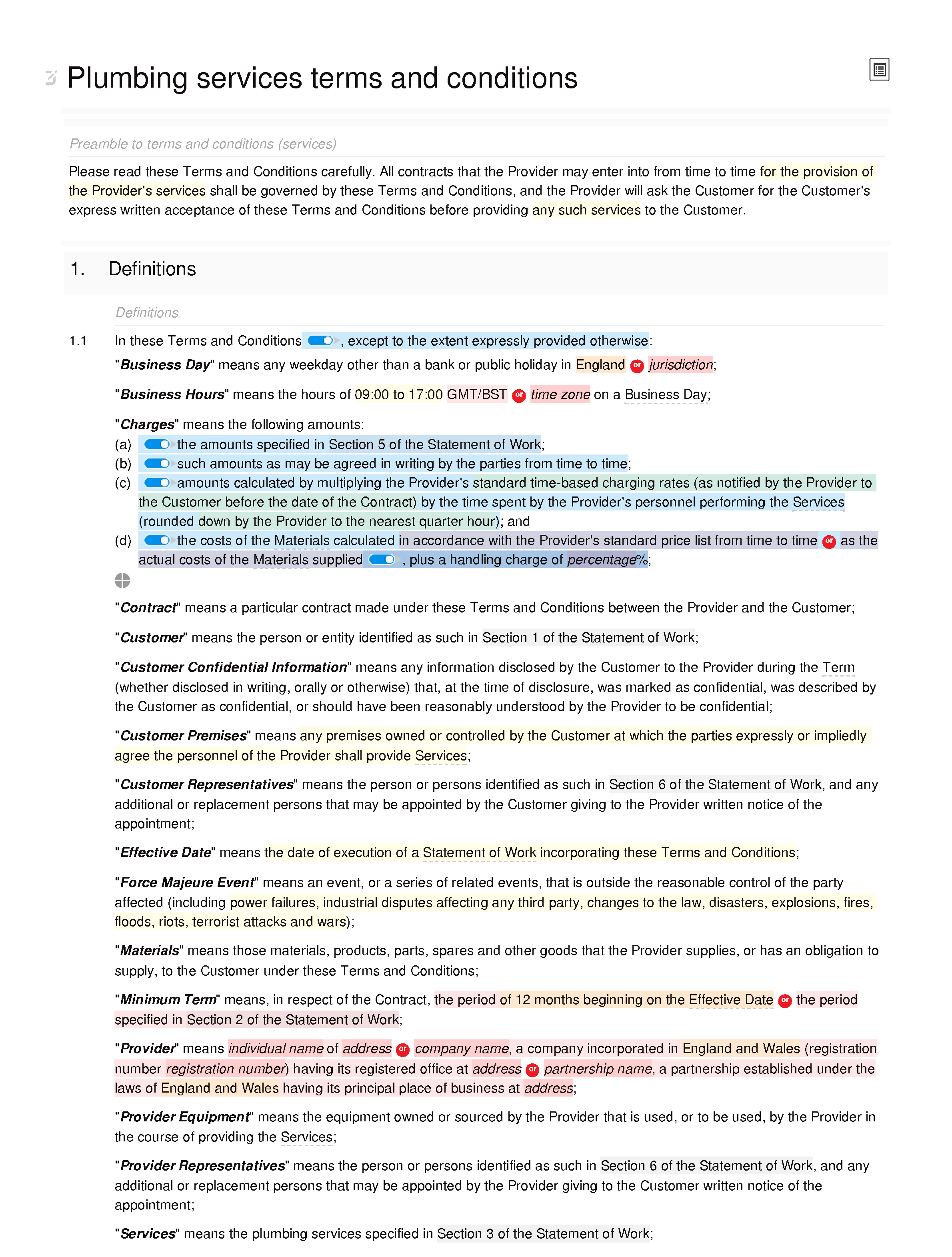 Plumbing services terms and conditions document editor preview