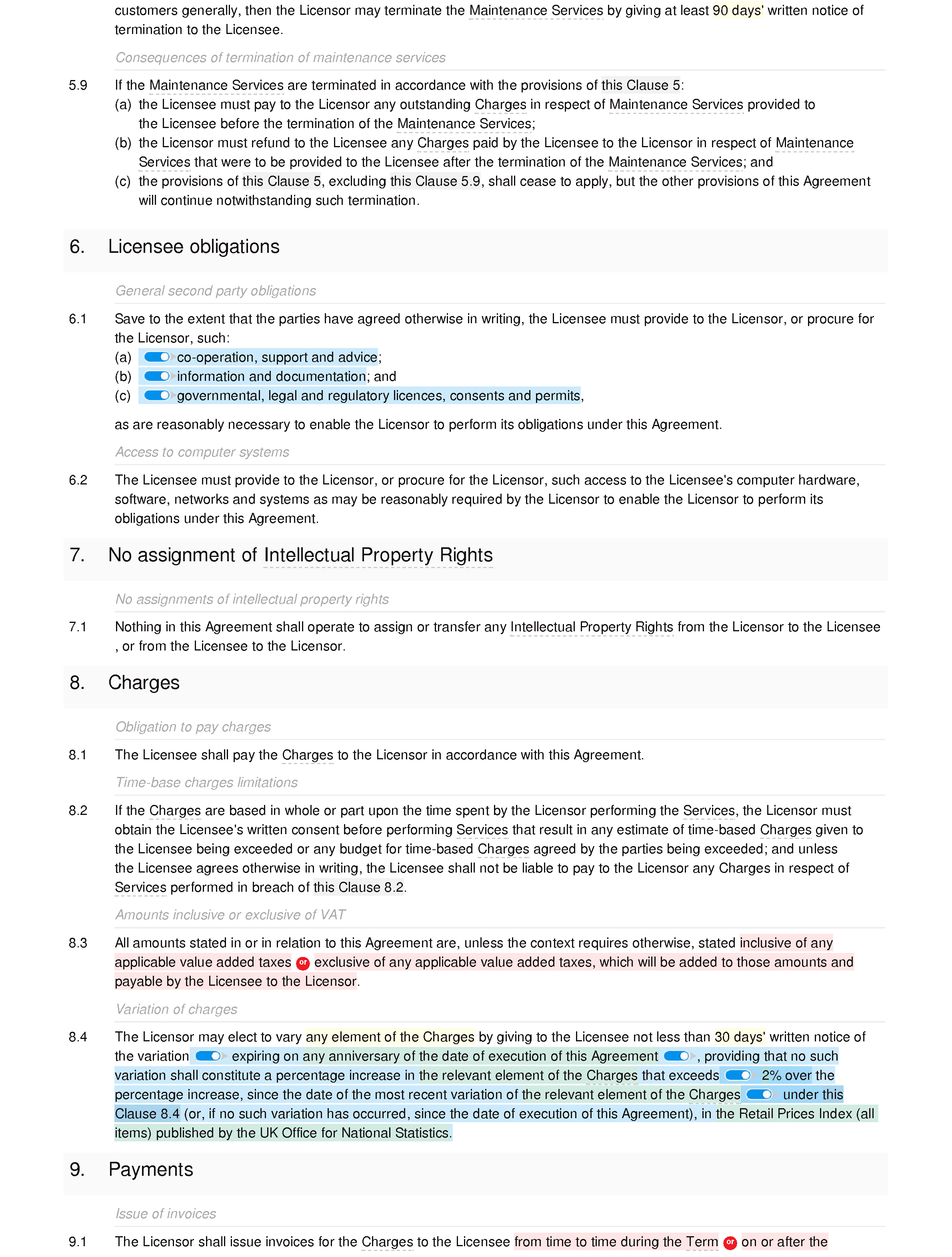 Software licence and maintenance agreement (basic) document editor preview