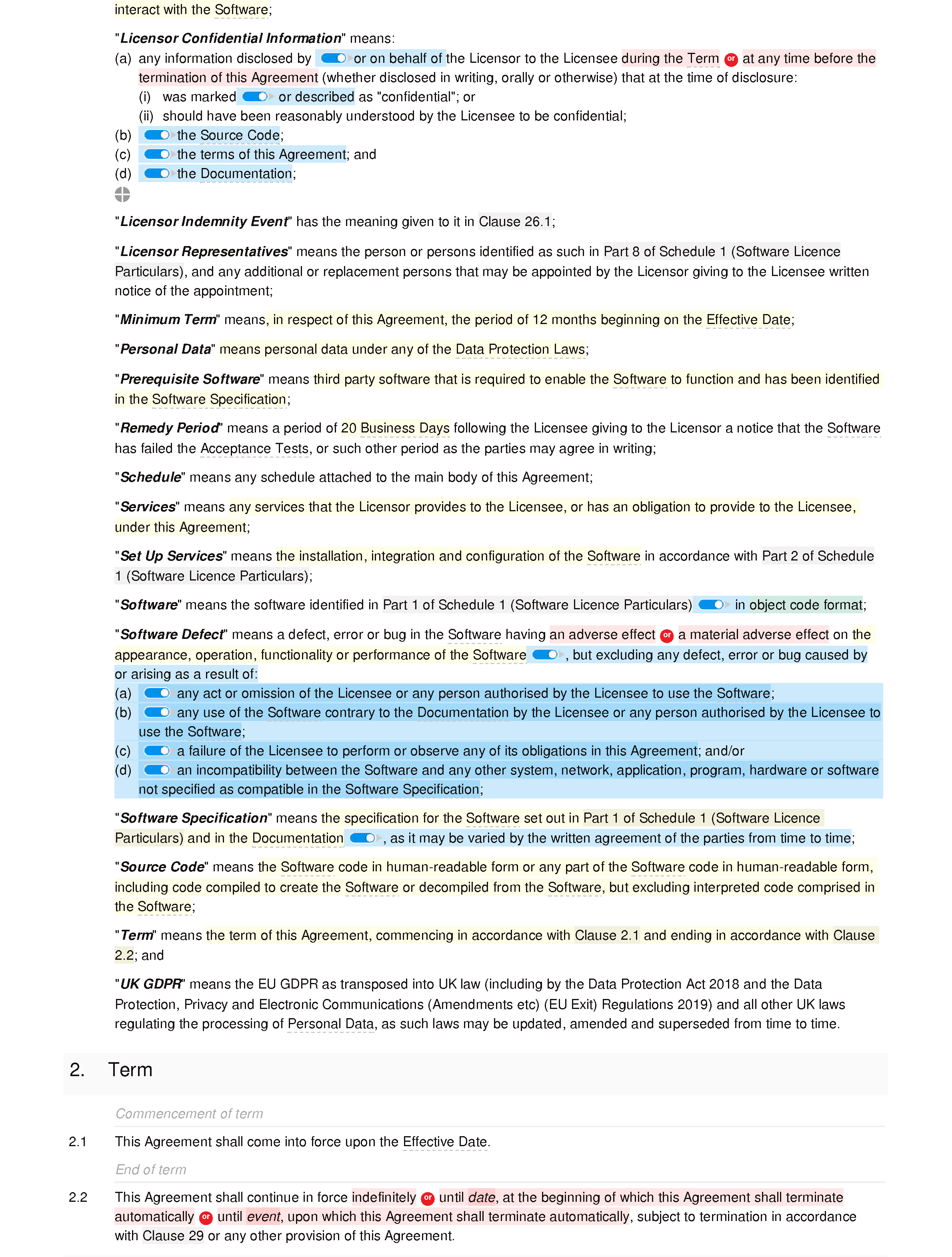 Software licence agreement (premium) document editor preview
